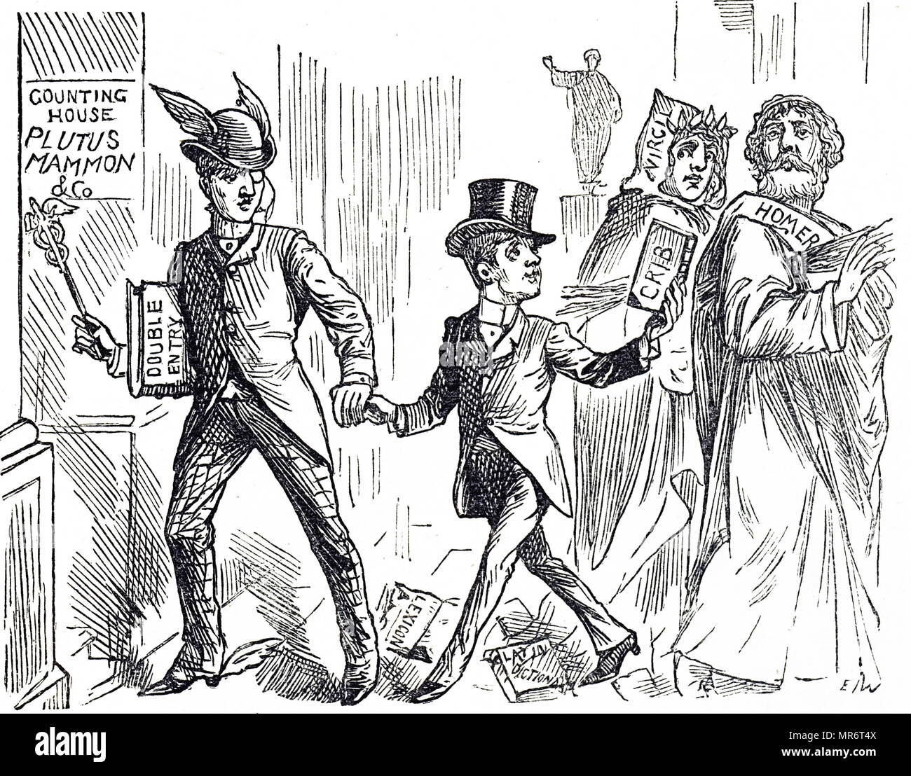 Cartoon titled 'The British Educational Curse'. Academic and vocational education was kept separate. Dated 19th century - Stock Image
