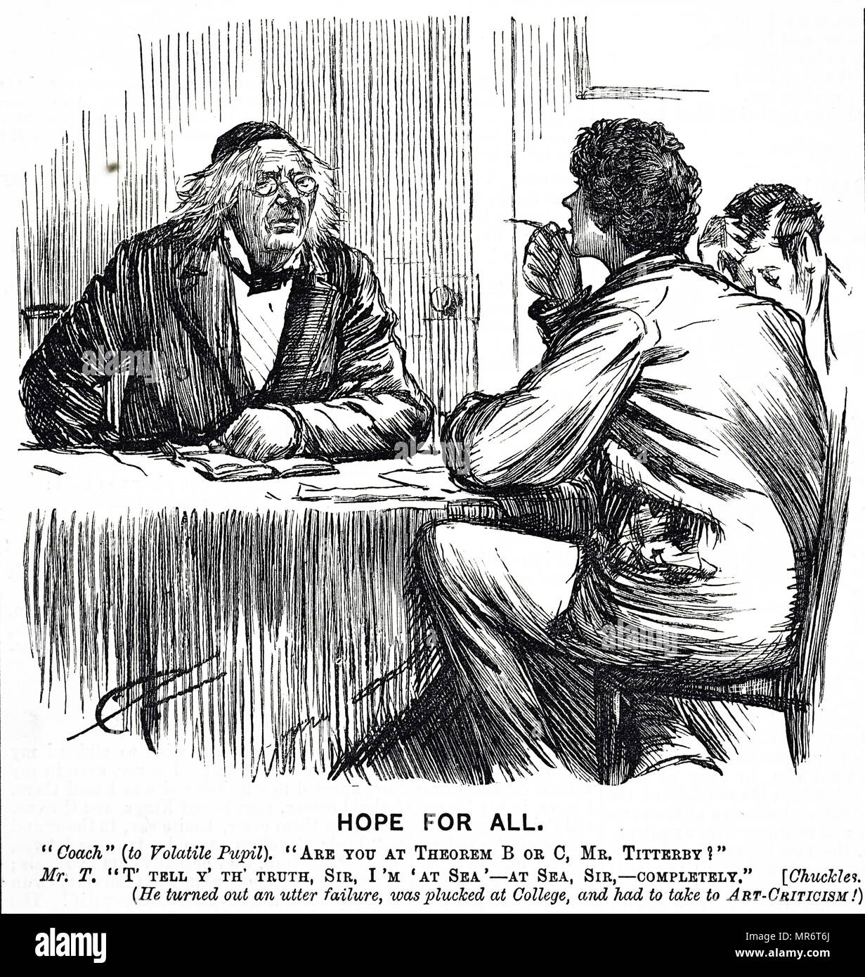 1887 cartoon illustration showing a teacher helping students to cram or fast learn, in order to take university entrance exams in England - Stock Image