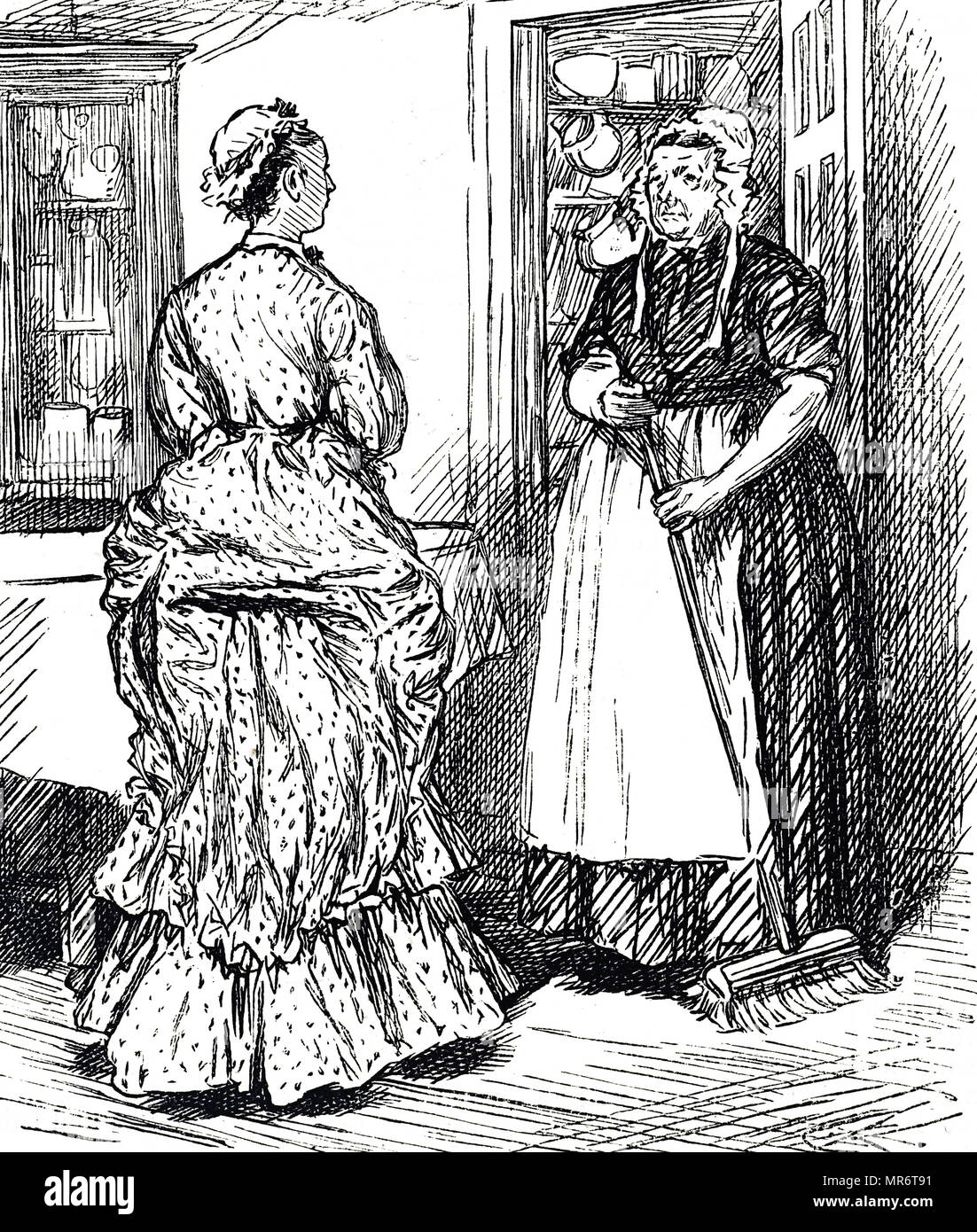 Cartoon depicting a cook and parlour maid. Dated 19th century - Stock Image