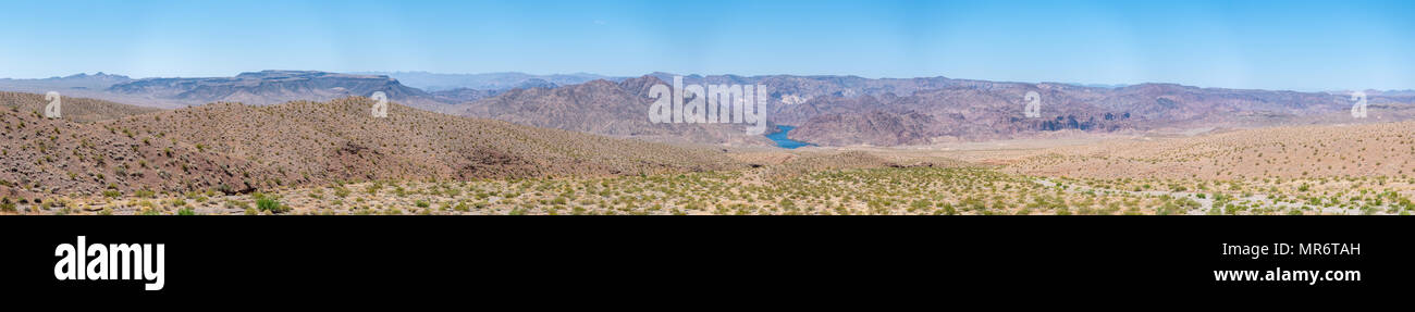 Panoramic View of Nevada Dessert With Large Lake in the background - Stock Image