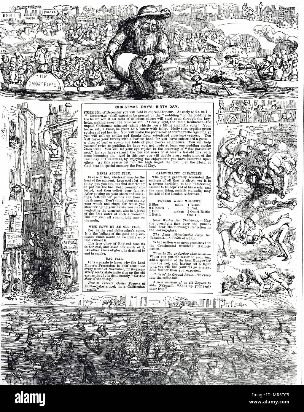 Punch commenting on the unhealthy state of London's sanitation. Dated 19th century - Stock Image