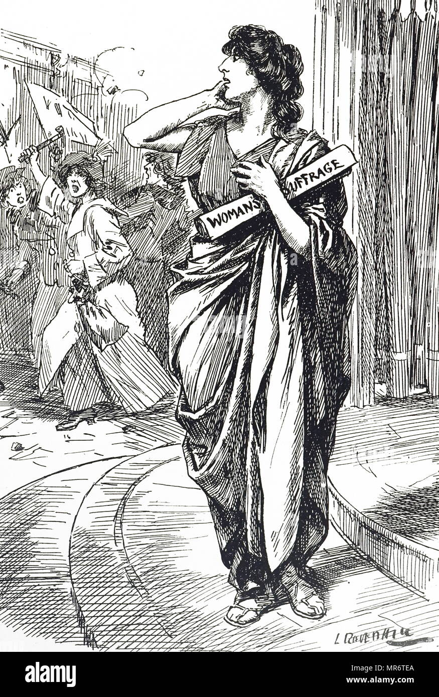 Cartoon commenting on the women's suffrage movement. Dated 20th century Stock Photo