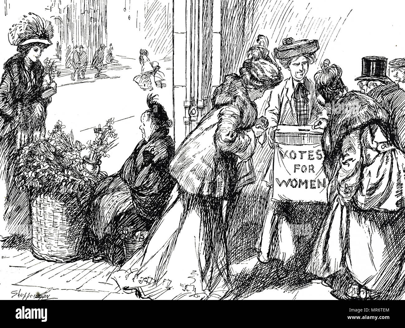 Cartoon commenting on the women's suffrage movement - women are collecting funds for Votes for Women at the expense of working women. Dated 20th century Stock Photo