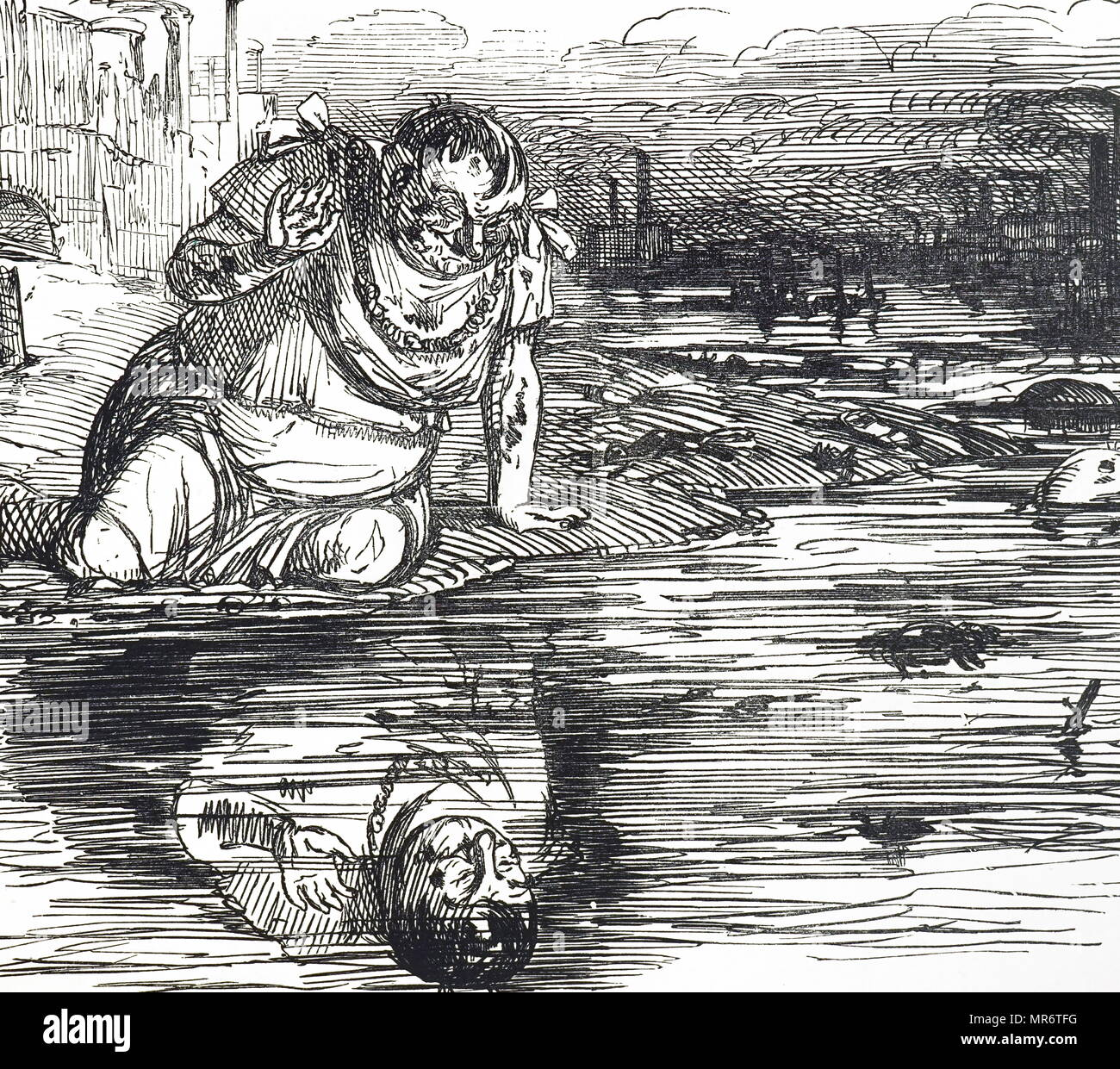 Cartoon commenting on the pollution of the Thames in London. Dated 19th century - Stock Image