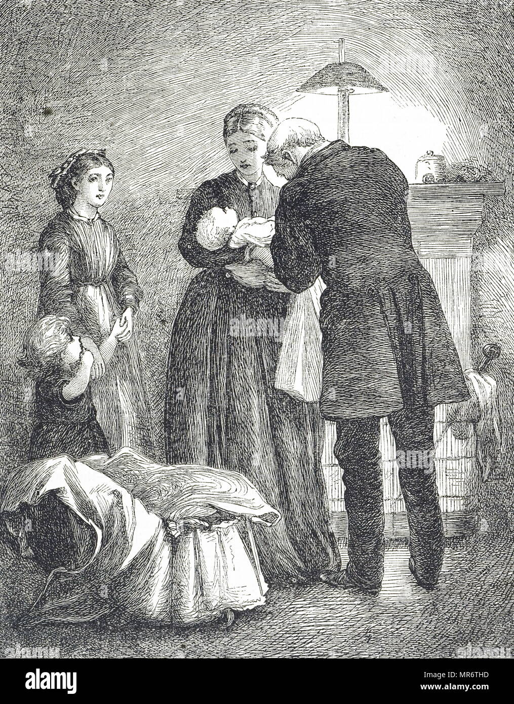 Engraving depicting a doctor examining a baby with measles. An attack by the measles virus makes a patient vulnerable to secondary infections, and death from complications such as pneumonia made measles a dangerous childhood illness. In modern times the use of antibiotics although ineffective against the initial viral infection, reduces the dangers from the Secondary infections. Illustrated Mary Ellen Edwards (1838-1934) an England artist and prolific illustrator of children's books. Dated 19th century - Stock Image