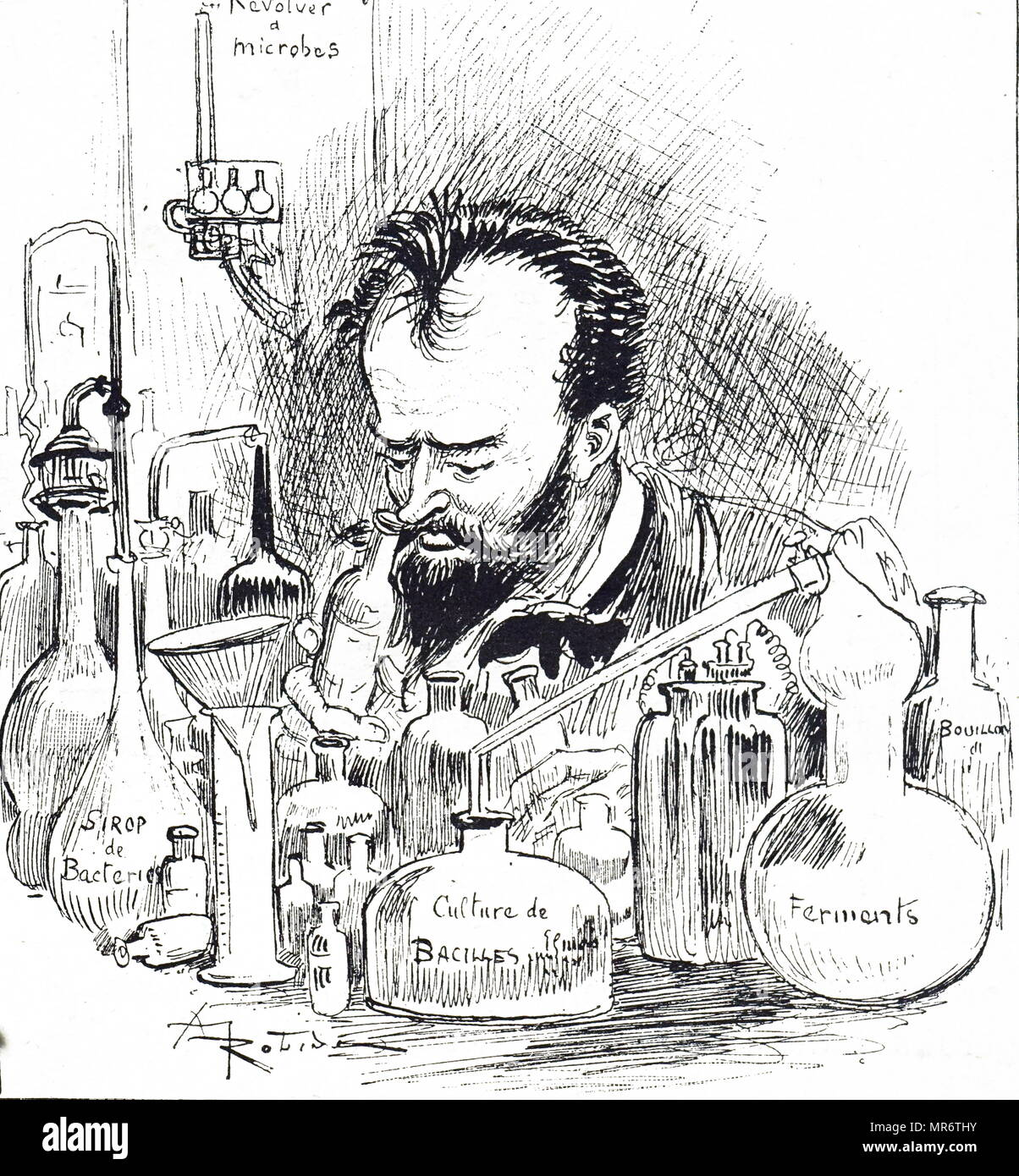 Cartoon depicting a biological engineer in his laboratory . Dated 19th century - Stock Image