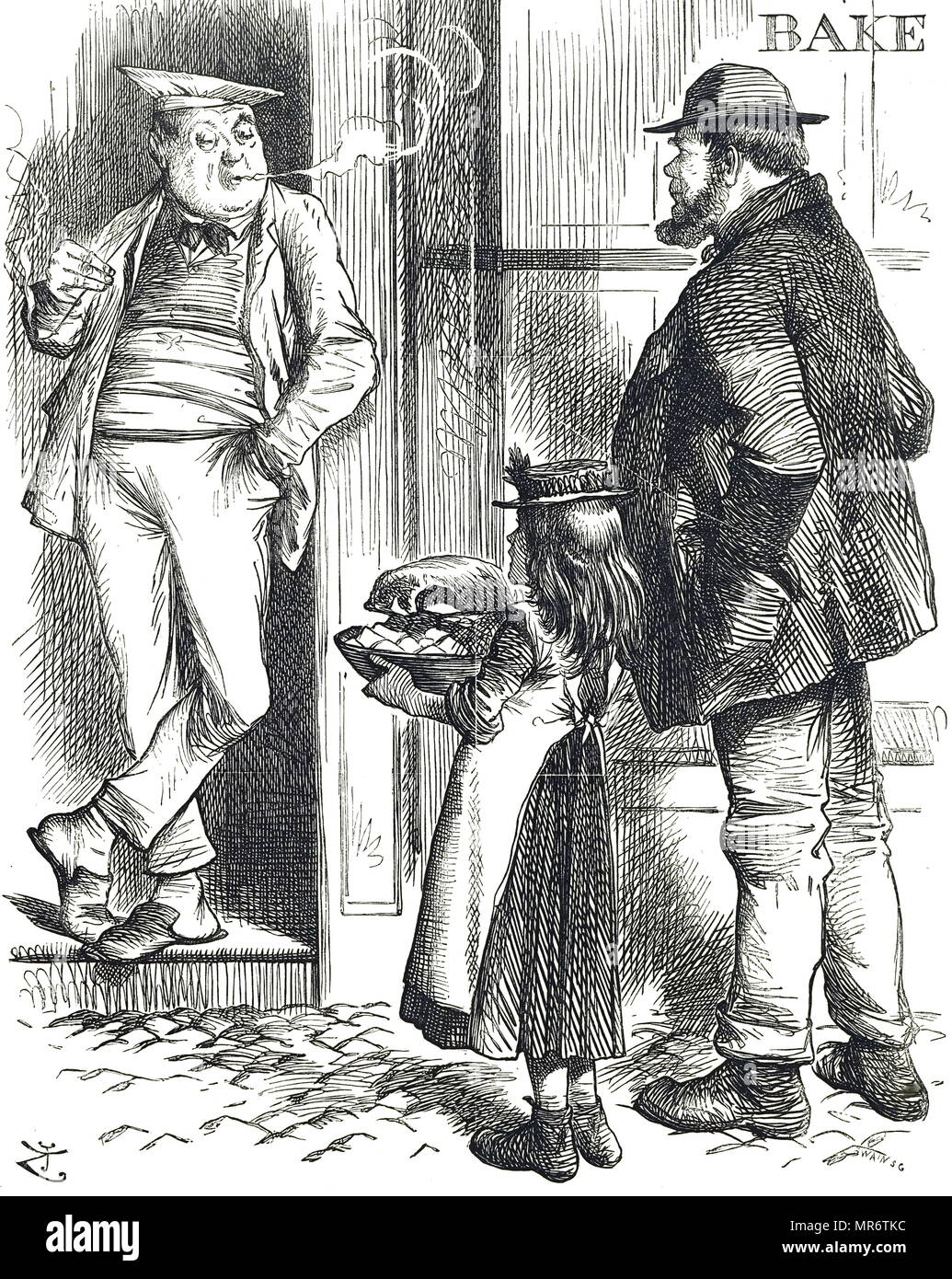 Cartoon commenting on the restricted cooking facilities in poor homes were there was often no oven. Food for roasting was often taken to the local baker who would put it in his oven after the bread was baked. Illustrated by John Tenniel (1820-1914) an English illustrator, graphic humourist, and political cartoonist. Dated 19th century - Stock Image
