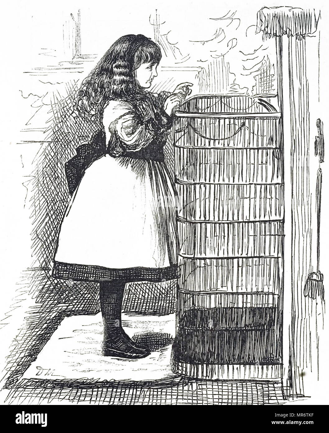 Cartoon depicting a young girl standing in front of a large fireguard. Illustrated by George du Maurier (1834-1896) a Franco-British cartoonist and author. Dated 19th century - Stock Image