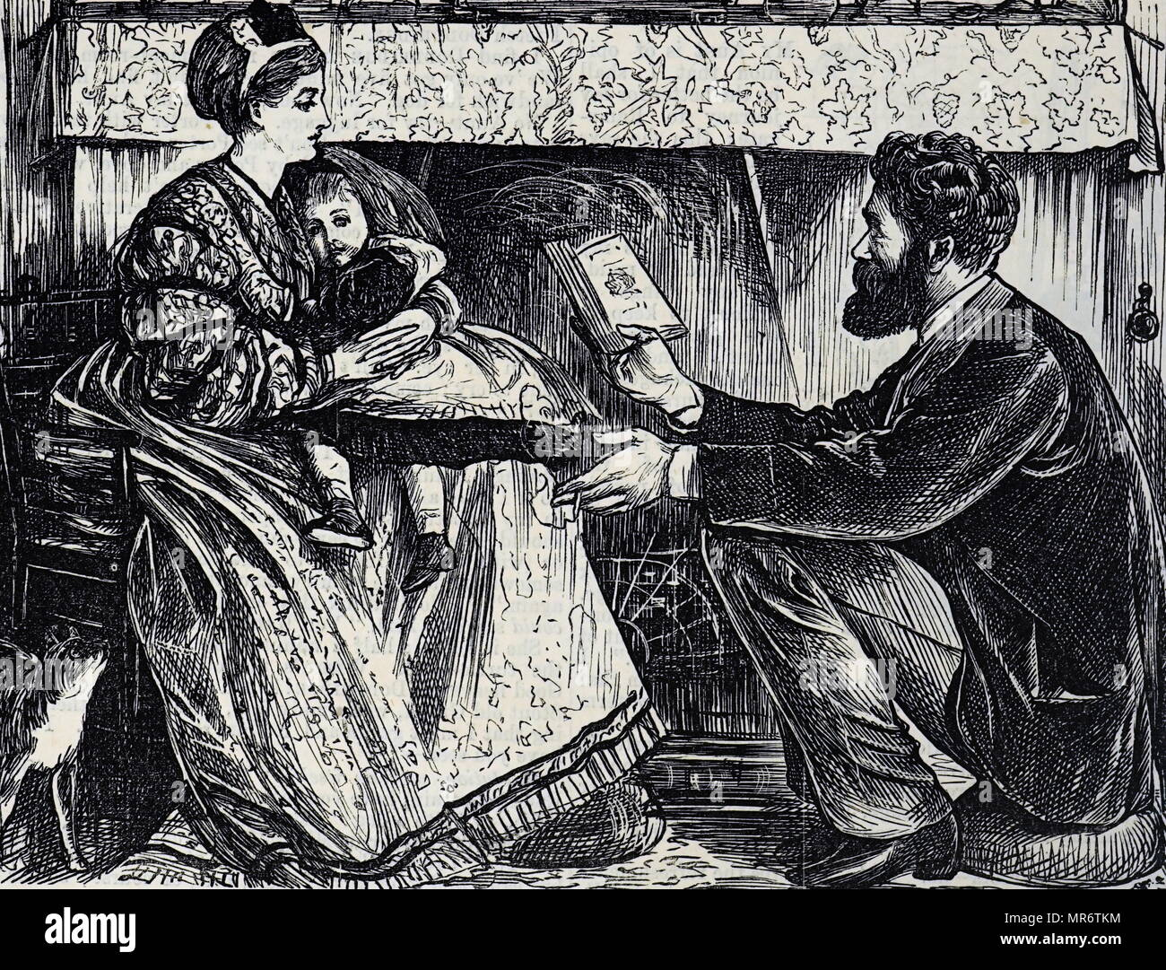 Cartoon titled 'A Logical Refutation of Mr Darwin's Theory' - a father tries to explain Darwin's Theory to his Wife and daughter. Illustrated by George du Maurier (1834-1896) a Franco-British cartoonist and author. Dated 19th century - Stock Image