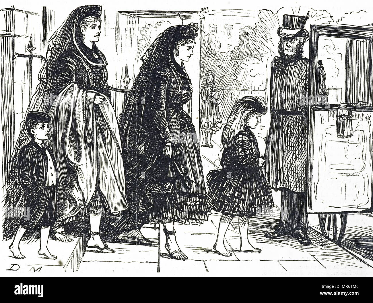 Cartoon depicting people using natural footwear to avoid deformed feet. Illustrated by George du Maurier (1834-1896) a Franco-British cartoonist and author. Dated 19th century - Stock Image