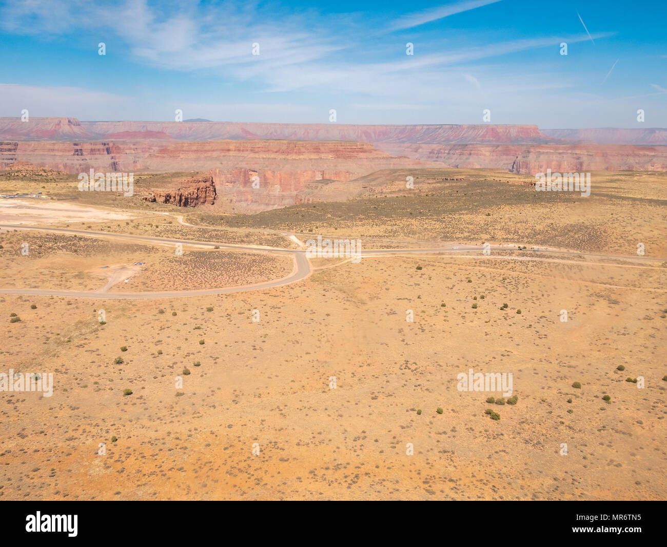 Helicopter View of Country Roads at the Edge of the Grand Canyon - Stock Image