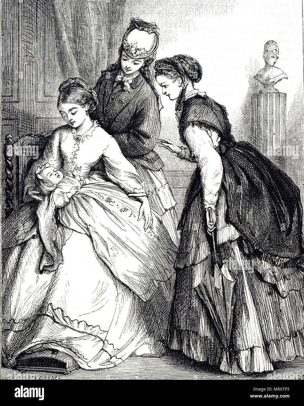 Engraving depicting a new-born being shown off to his aunts. Illustrated by Edward Hughes (1832-1908) a British artist. Dated 19th century - Stock Image