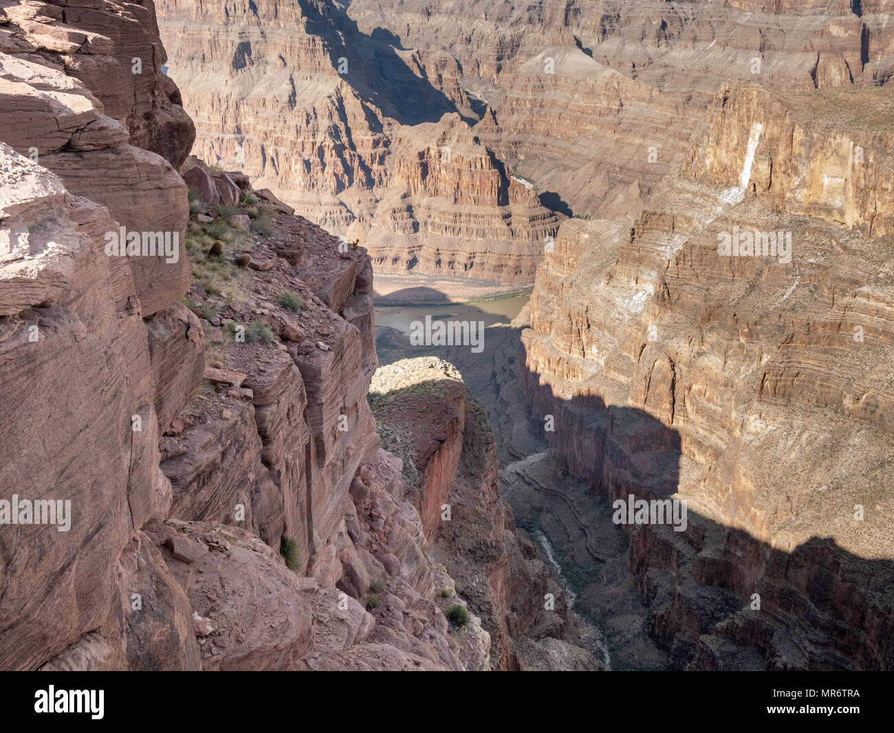 View of the inside of the Grand Canyon From the Edge - Stock Image