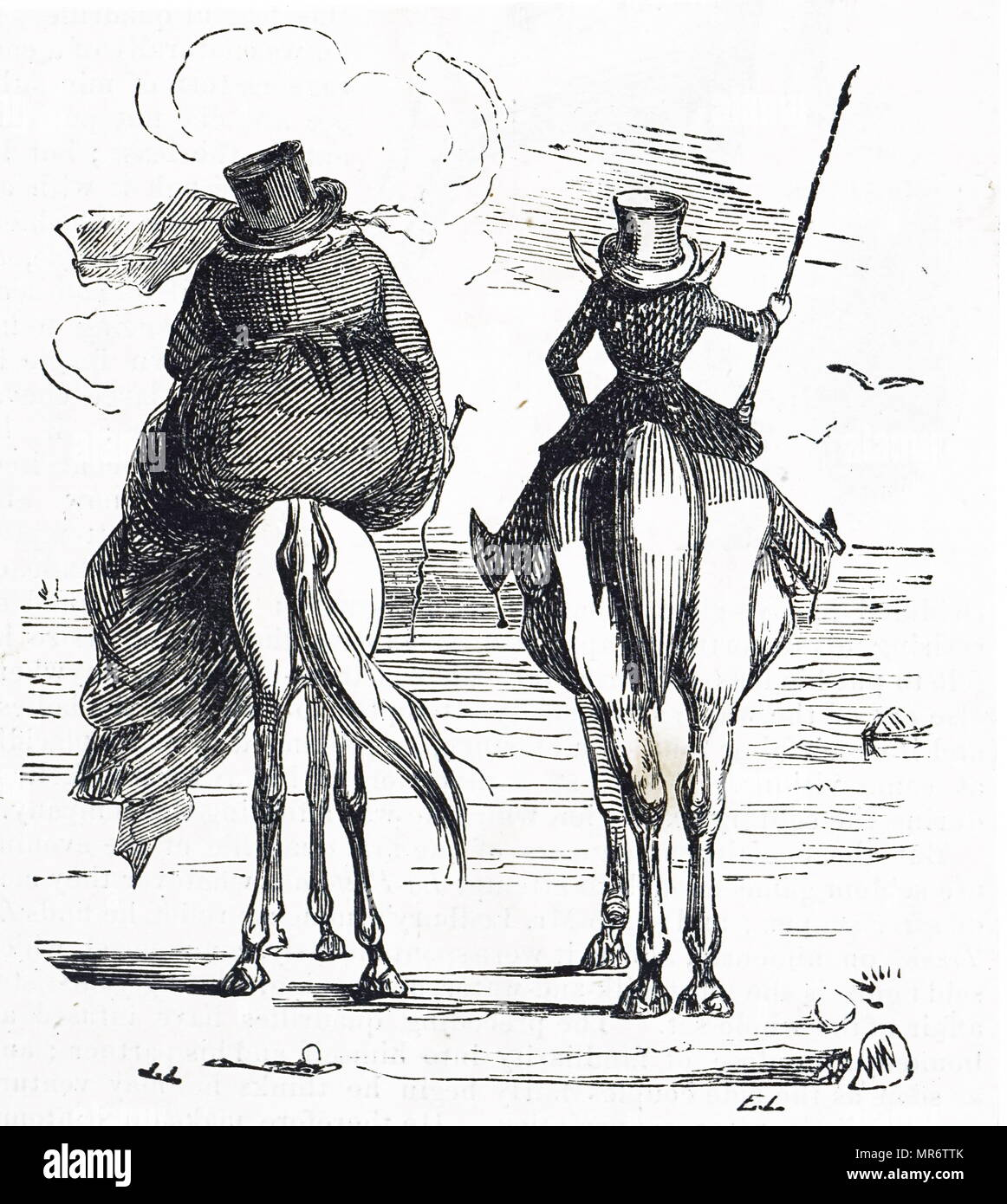 Comic depicting the Fat and the Lean enjoying a seaside holiday in conjugal companionship. Dated 19th century - Stock Image