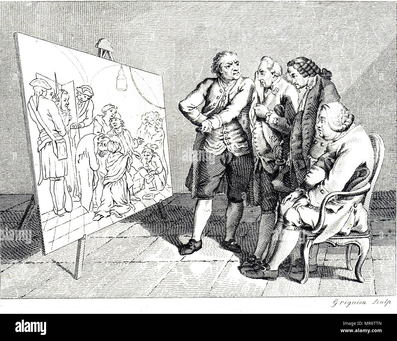 Engraving depicting four connoisseur's looking at Daniel Chodowiecki's painting. Daniel Chodowiecki (1726-1801) a Polish-and later German- painter and printmaker.  Engraving by Reynolds Grignion.  Dated 18th century - Stock Image