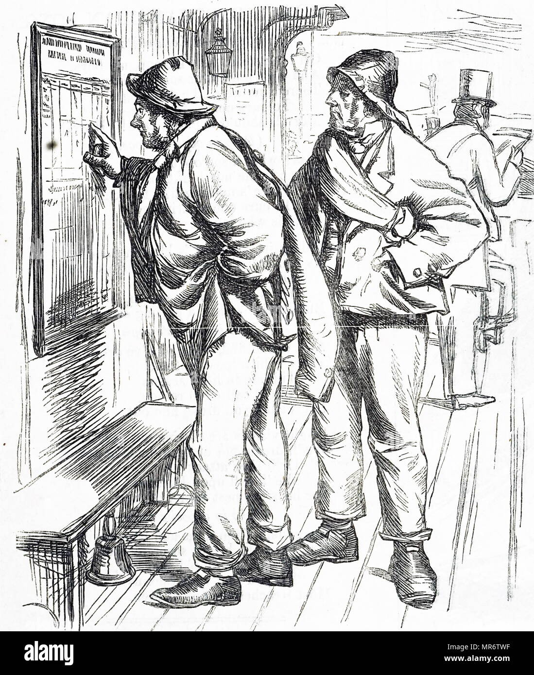 Cartoon depicting two men trying to work out the complicated train timetable. Dated 19th century - Stock Image