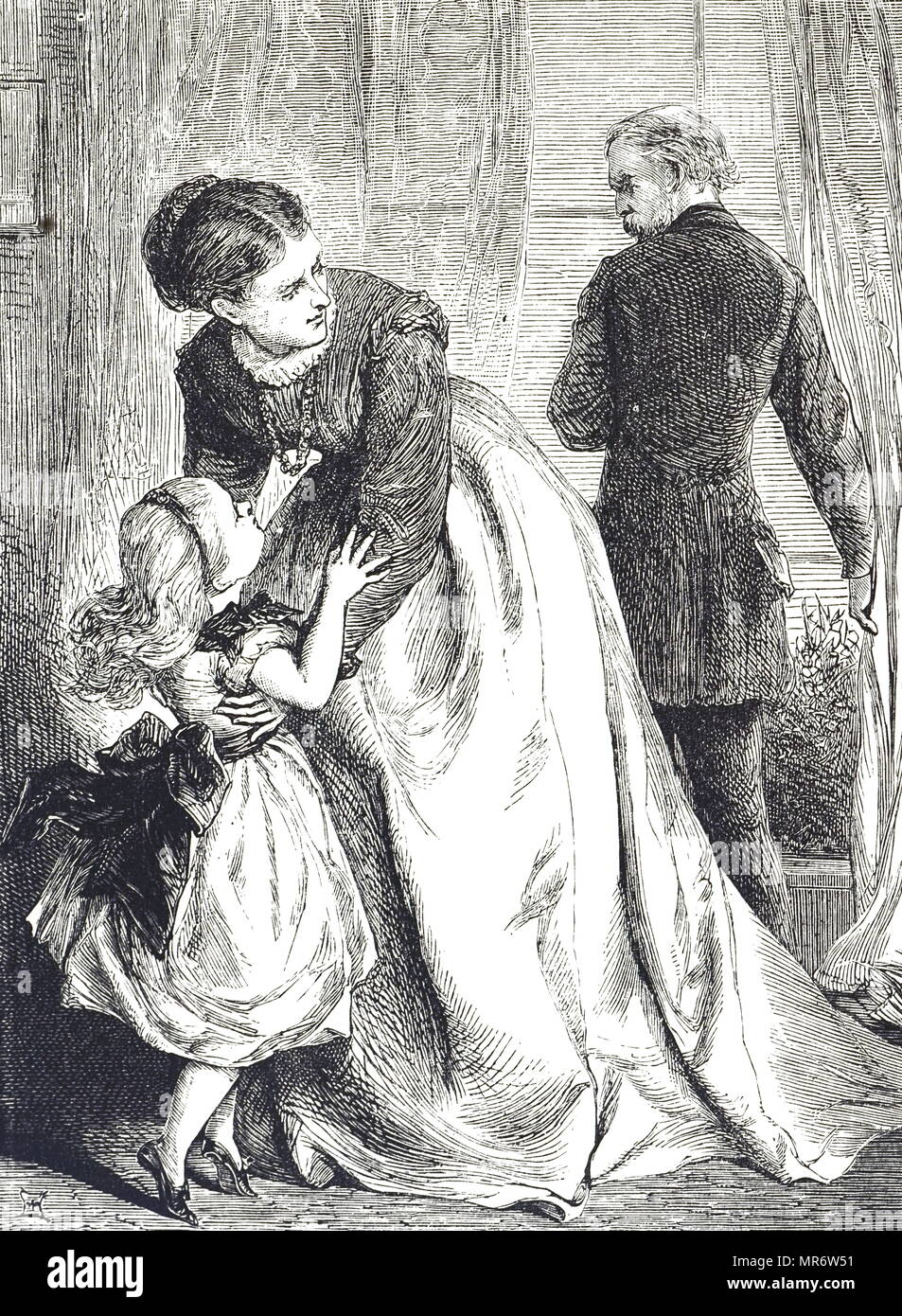 Engraving Depicting A Child Seeking Protection From Her Angry Father