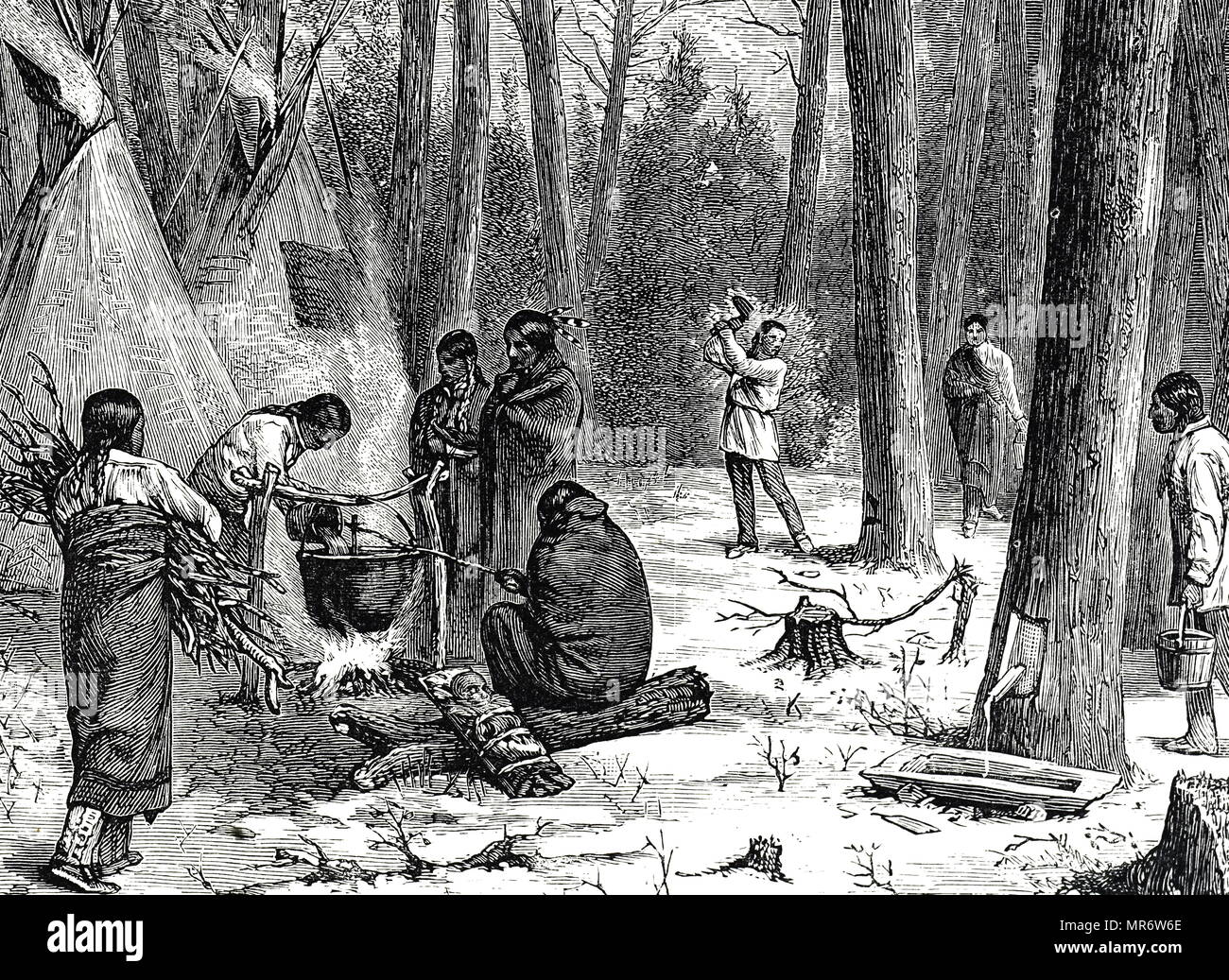 Engraving depicting North American Indians gathering maple sap and boiling it down into syrup and sugar. Dated 19th century - Stock Image