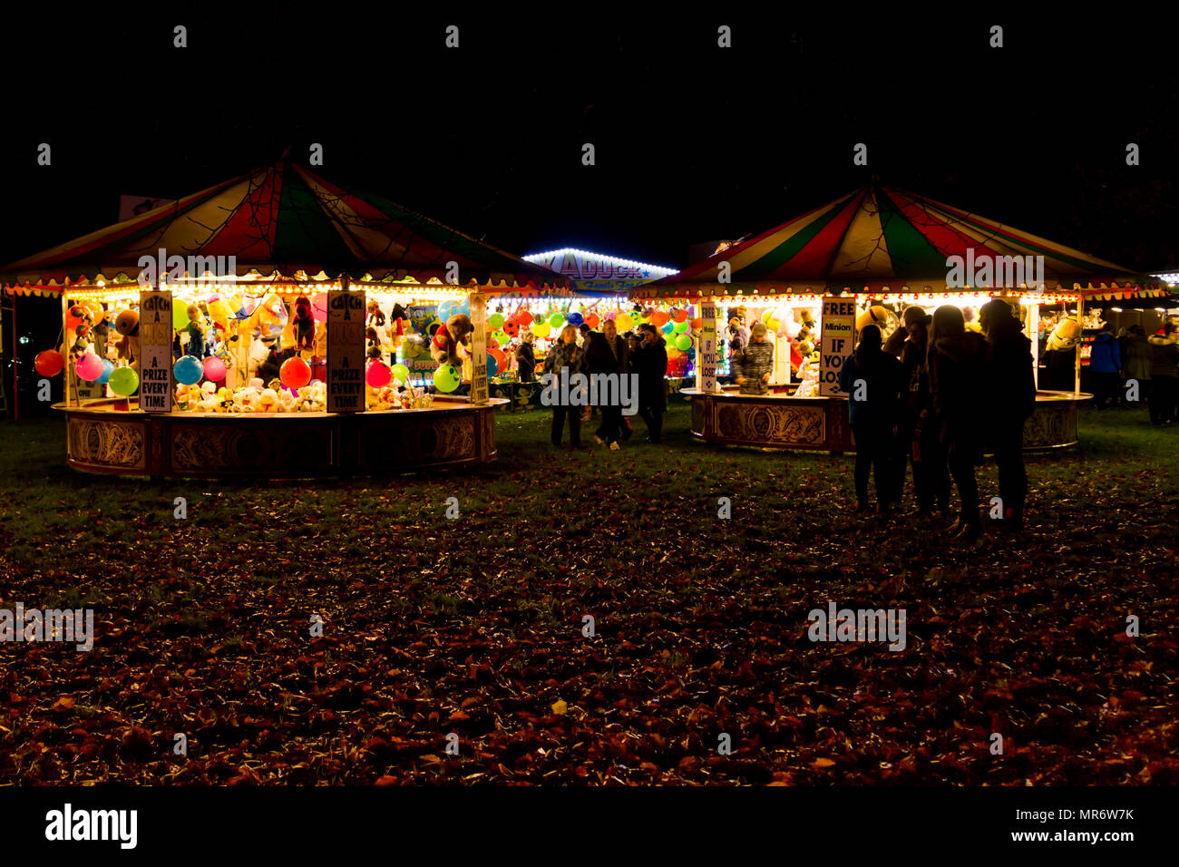 Fairground rides and booths at Himley Hall on Bonfire night November 5th. - Stock Image