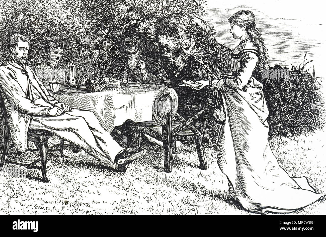Illustration depicting a family taking breakfast in the garden. Illustrated by Mary Ellen Edwards (1838-1934) an English artist and prolific illustrator of children's books. Dated 19th century - Stock Image