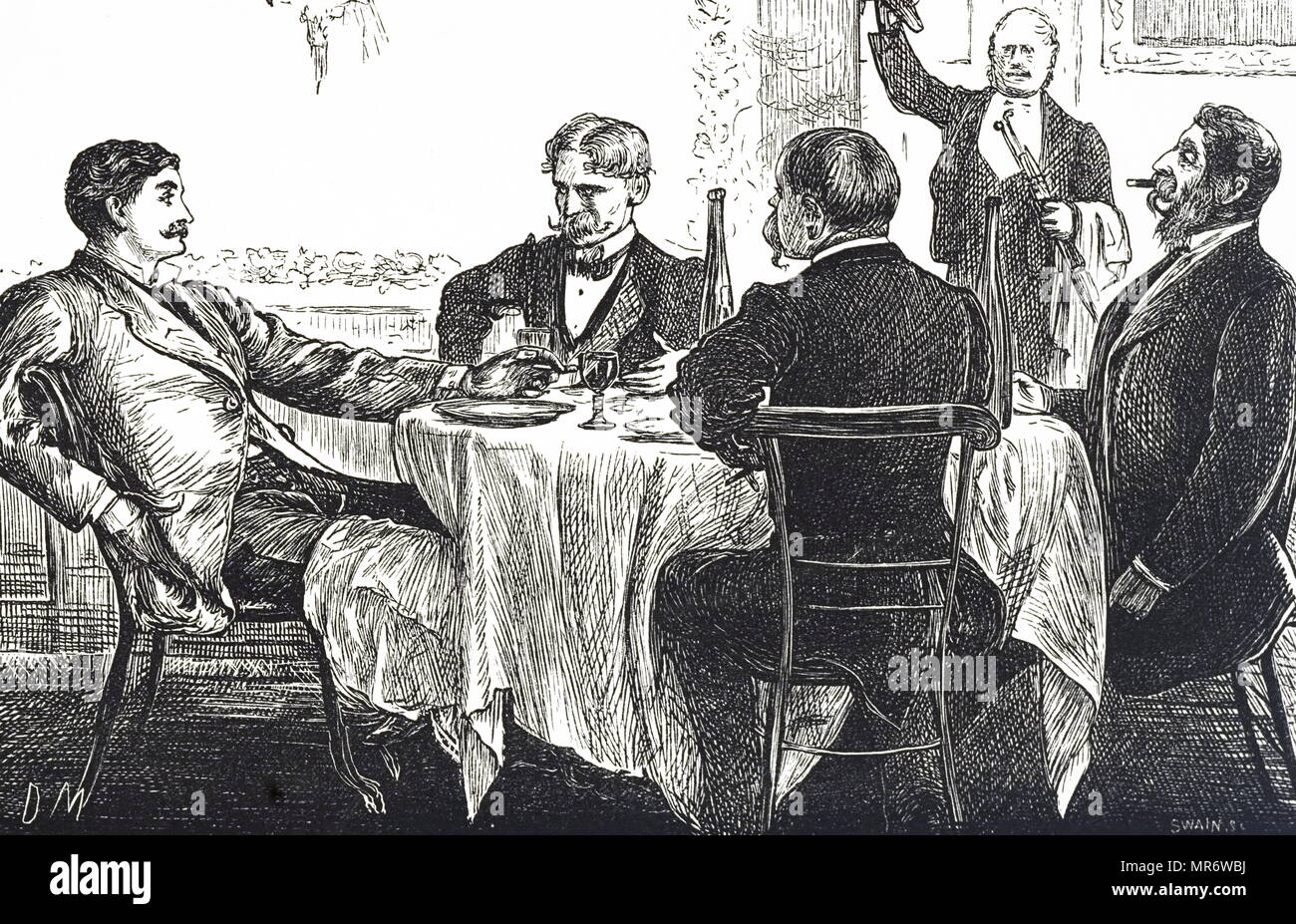 Cartoon titled 'Gentlemen taking Supper' depicting gentlemen eating in a dinning room. Illustrated by George du Maurier (1834-1896) a Franco-British cartoonist and author. Dated 19th century - Stock Image
