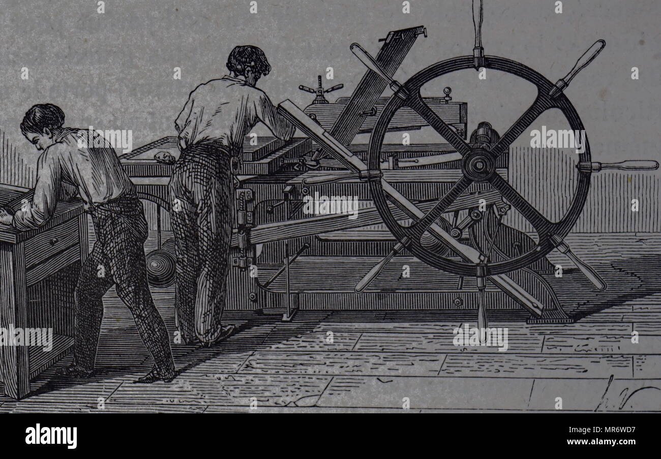 Engraving depicting a lithographic press, a method of printing originally based on the immiscibility of oil and water. Dated 19th century - Stock Image