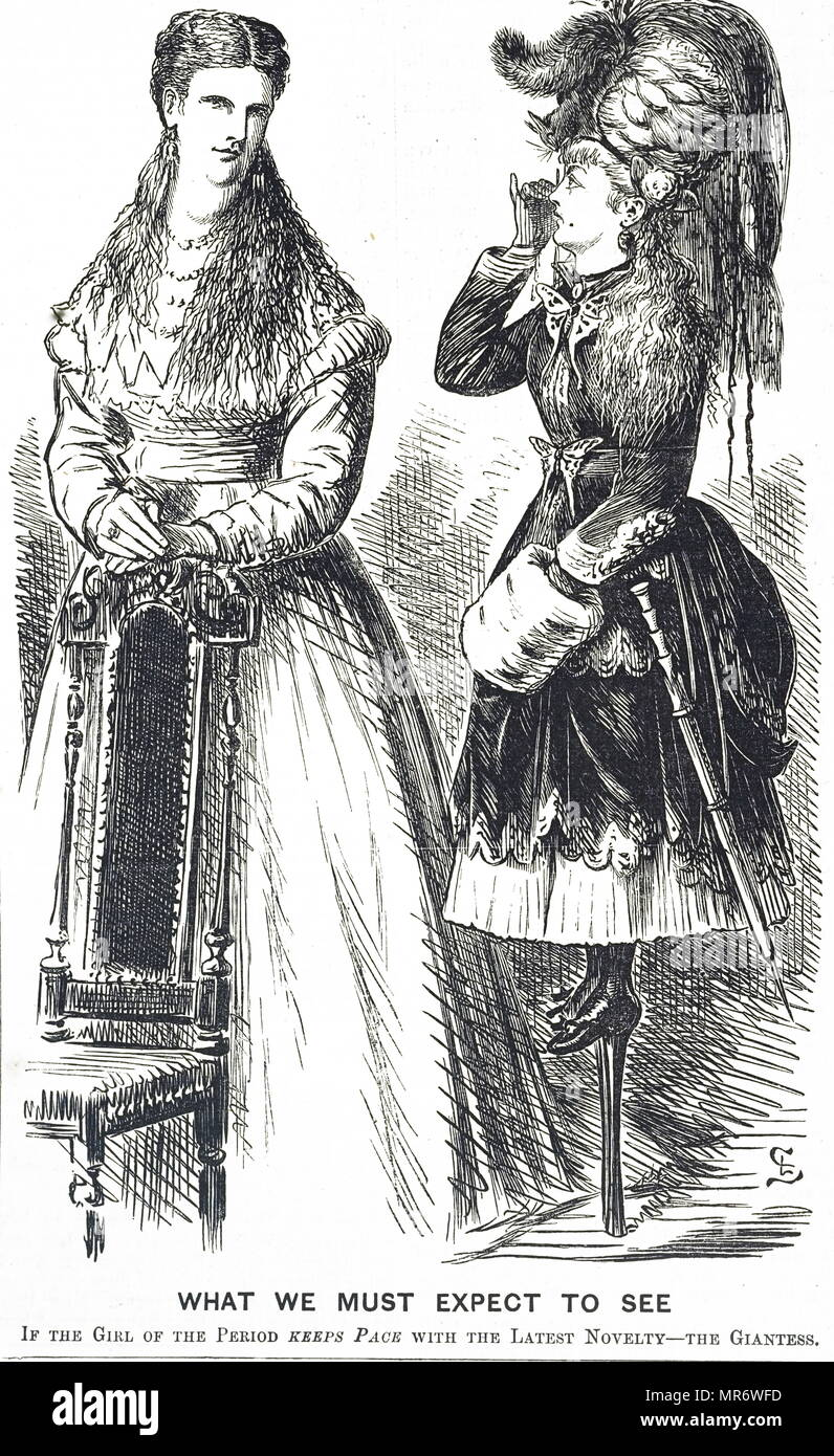 Cartoon commenting on the rate that girls are growing at in London. Dated 19th century - Stock Image