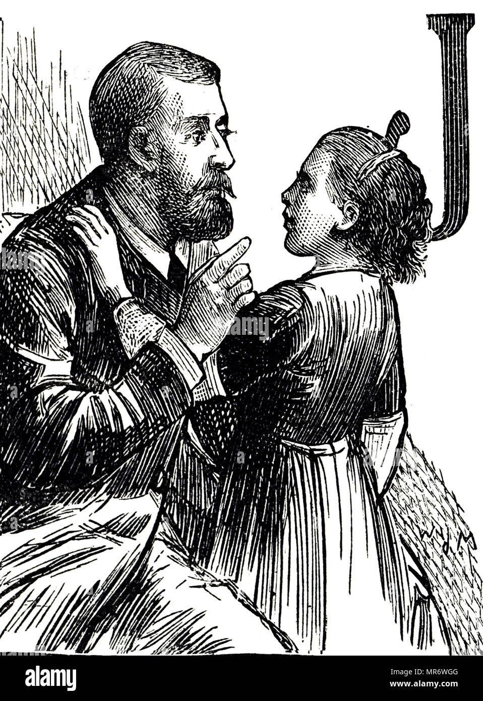 Engraving depicting a child learning to speak at the Deaf and Dumb home for Jewish children in Notting Hill, London. Dated 19th century - Stock Image