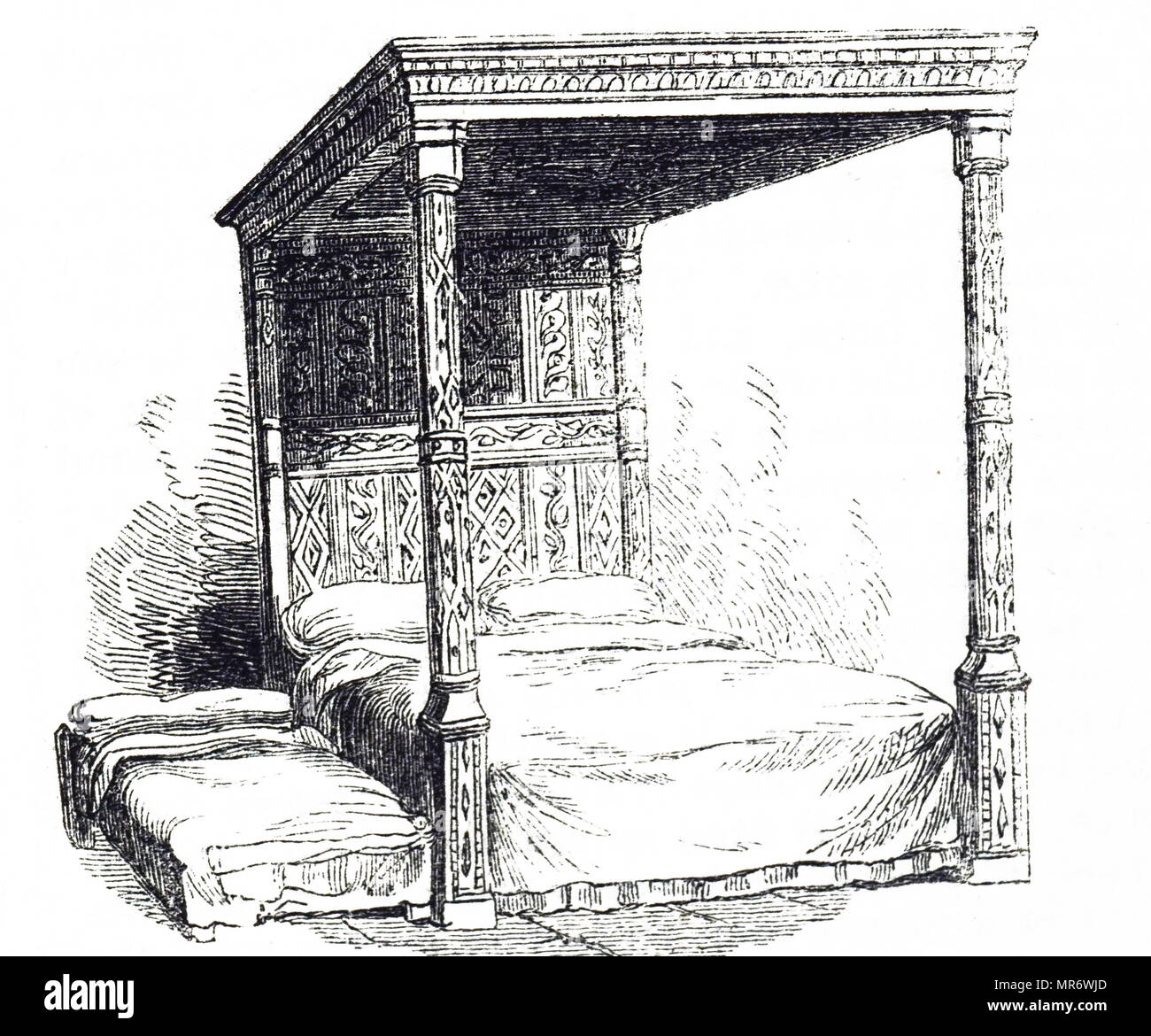 Engraving depicting a 16th century four poster bed, with trundle bed beside it. Dated 19th century - Stock Image