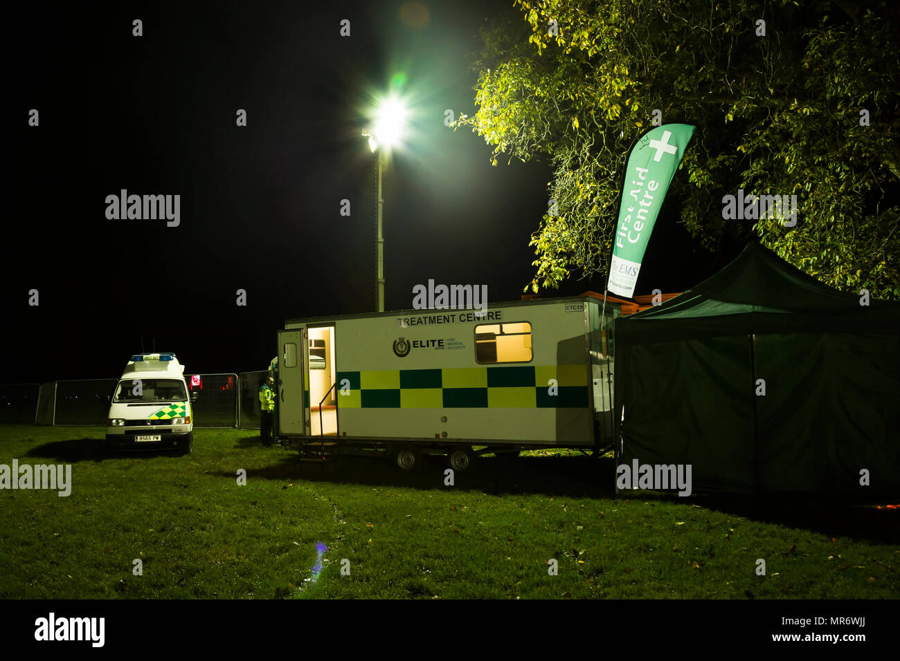 A mobile emergency unit at a firework display at November 5th firework display and celebrations. - Stock Image