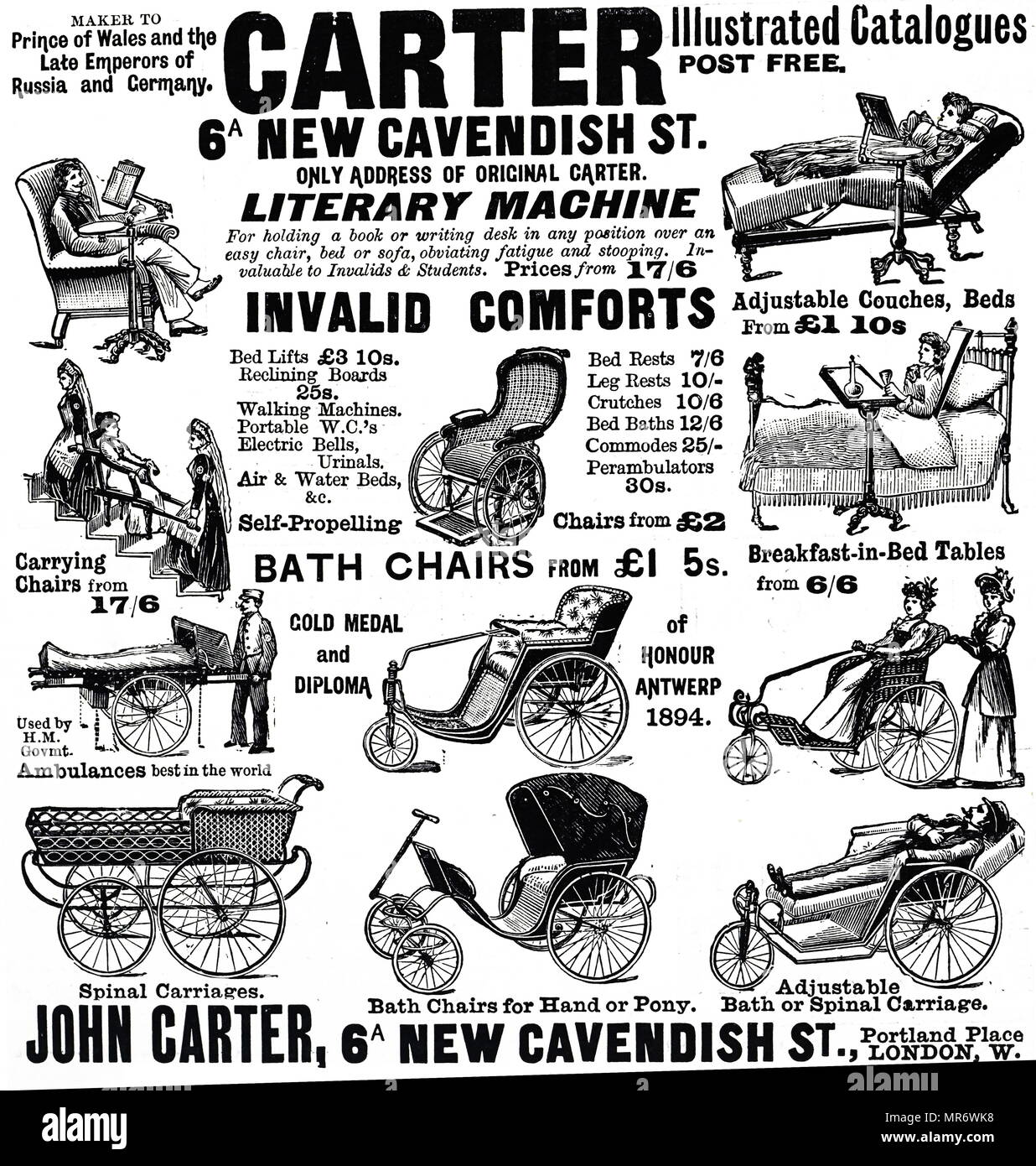 The Carter illustrated catalogue for invalid comforts. Dated 19th century - Stock Image