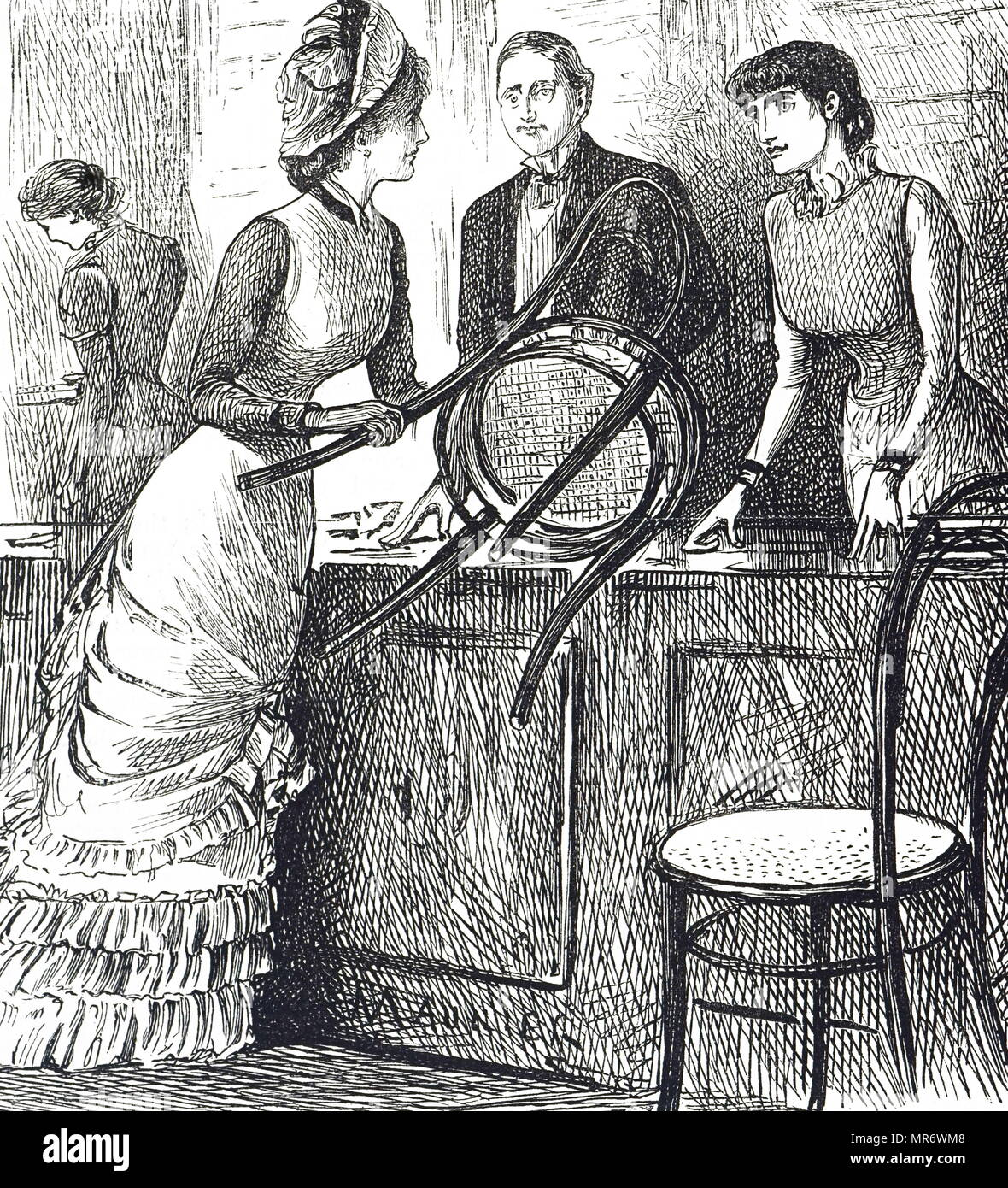 Cartoon commenting on the working conditions of shop assistants. Illustrated by George du Maurier (1834-1896) a Franco-British cartoonist and author. Dated 19th century - Stock Image