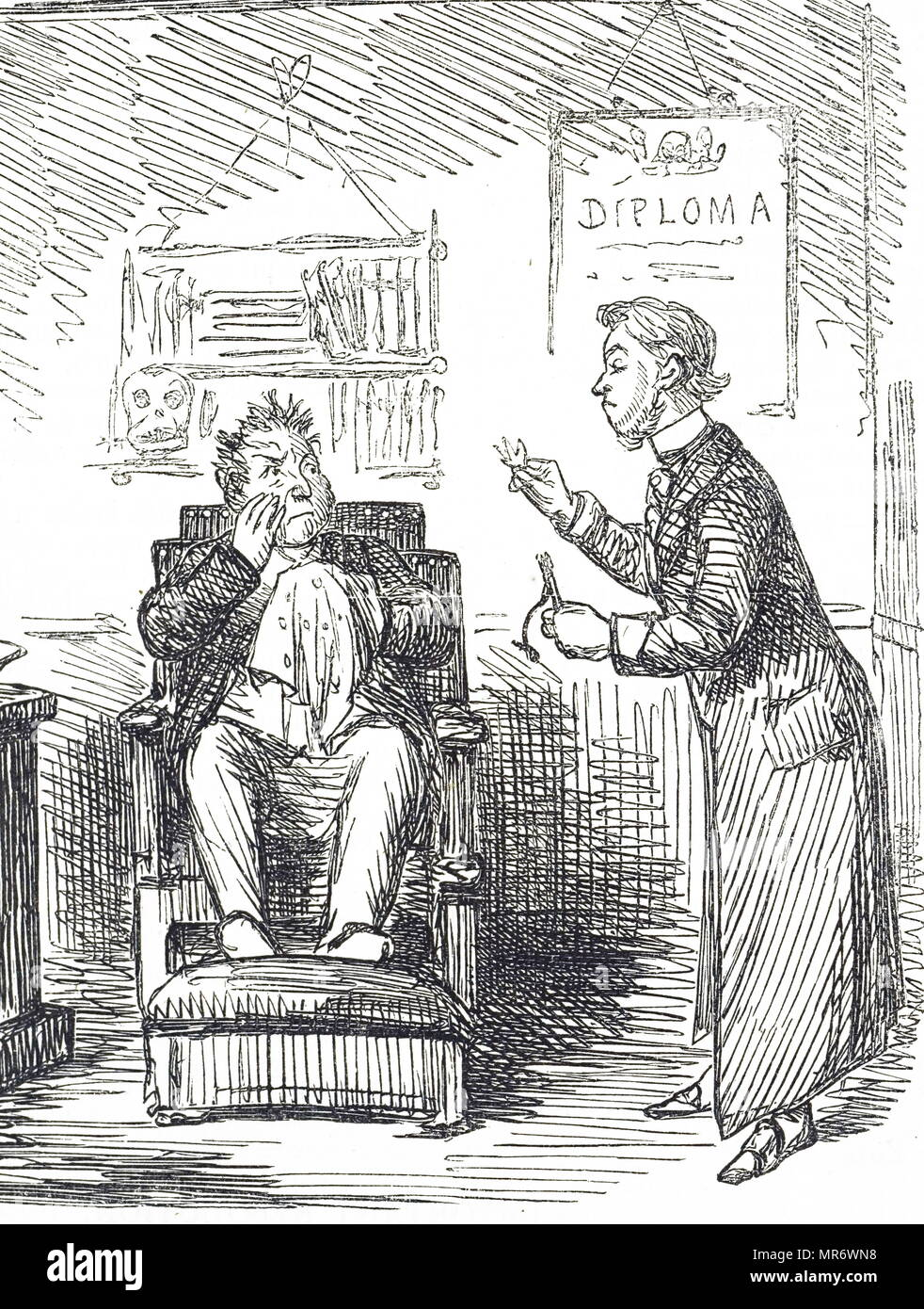Cartoon depicting a man having his teeth removed by his dentist. Dated 19th century - Stock Image