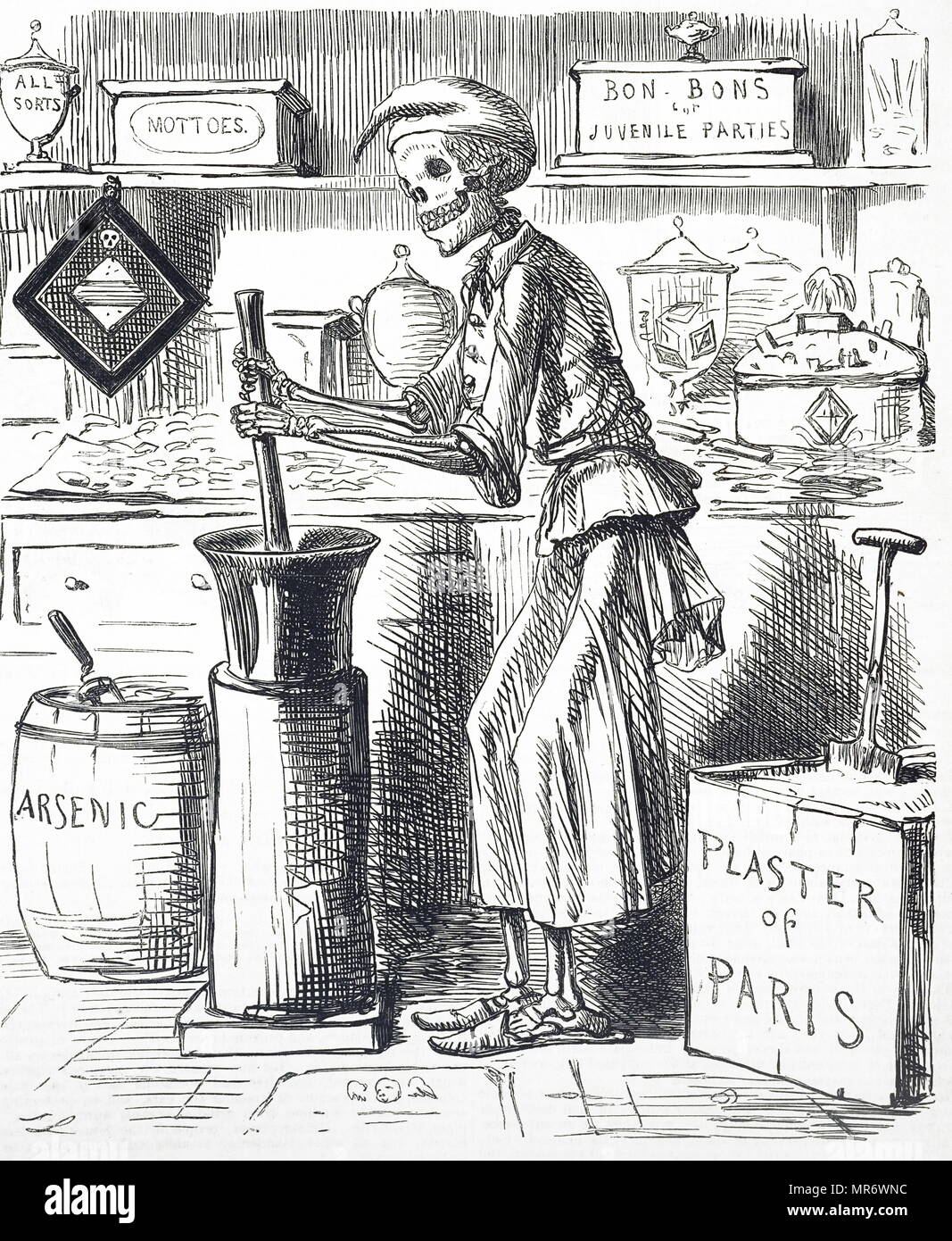 Cartoon titled 'Poisoning by Food Adulteration'. In November 1858 a confectioner bought Plaster of Paris from a druggist to add to lozenges. Instead of Plaster of Paris he was accidently sold arsenic. 20 died out of the 200-odd people poisoned. This case gave ammunition to those trying to get legislation against food adulteration through Parliament (Scholfield Act of 1859). Illustrated by John Leech (1817-1864) an English caricaturist and illustrator. Dated 19th century - Stock Image