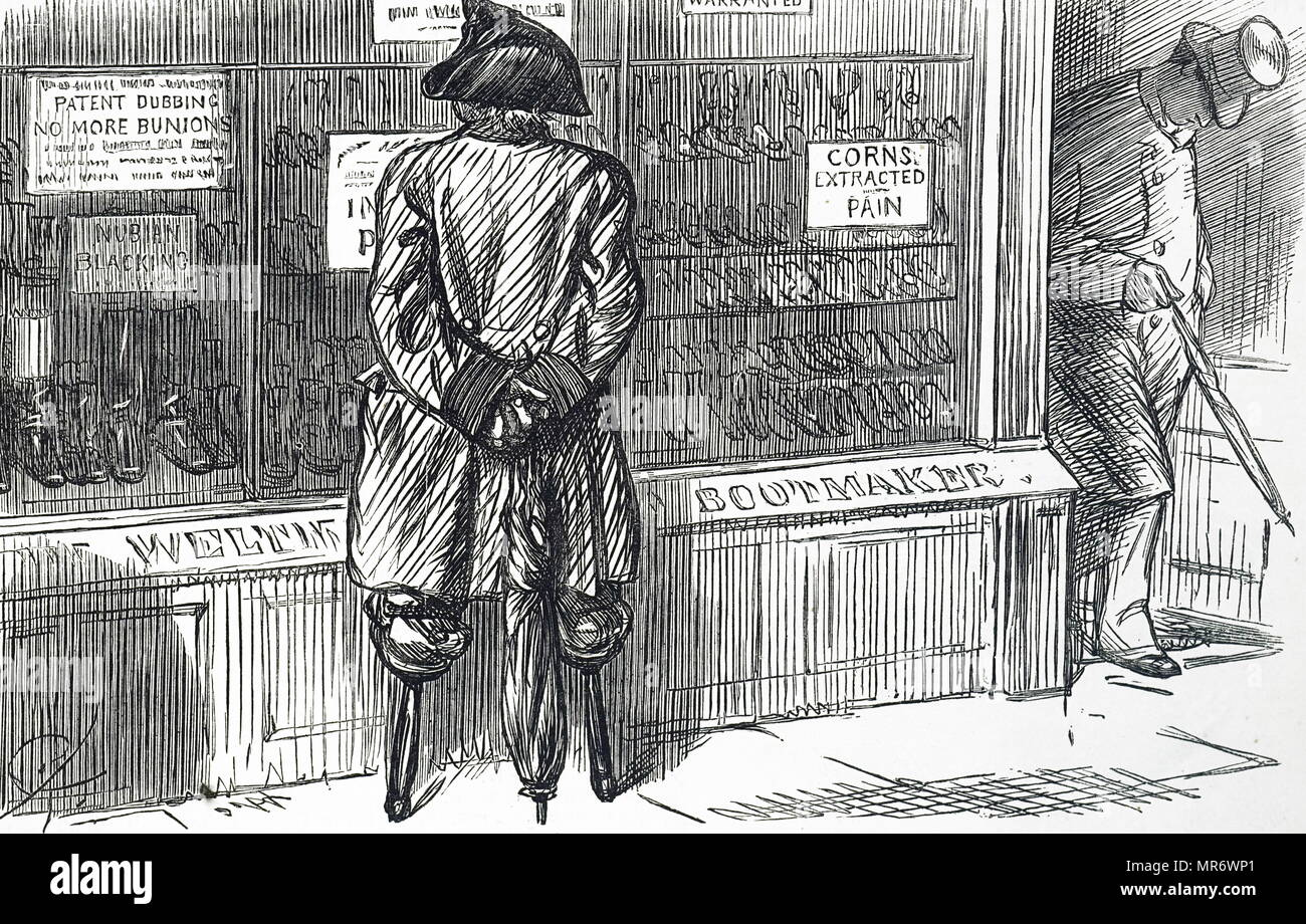 Cartoon depicting an ex-serviceman, with two wooden legs, looking at shoes. Dated 19th century - Stock Image