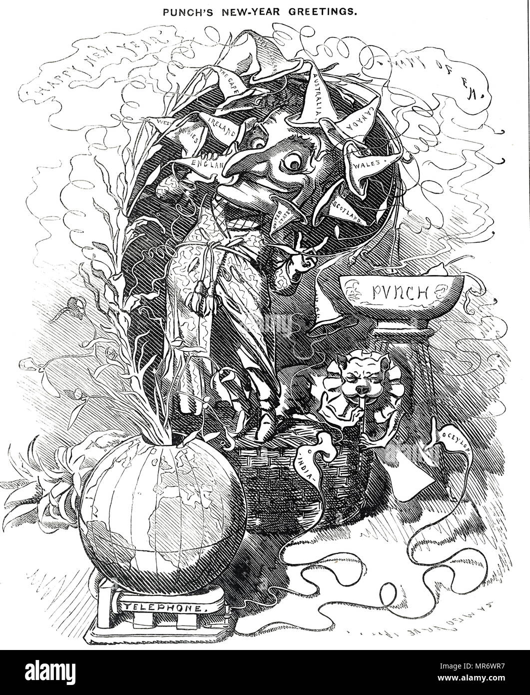 Mr Punch's New-Year Greetings to the World - by telephone. Dated 19th century - Stock Image