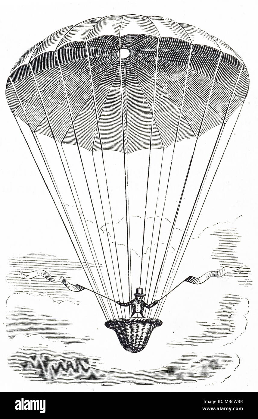 Engraving depicting André-Jacques Garnerin's first parachute descent in 1797. André-Jacques Garnerin (1769-1823) a French balloonist and the inventor of the frameless parachute. He was appointed Official Aeronaut of France. Dated 19th century - Stock Image