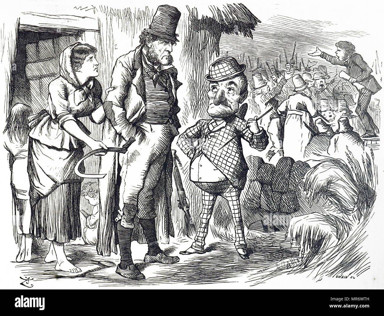 Cartoon commenting on the unrest in Ireland. Illustrated by John Tenniel (1820-1914) an English illustrator, graphic humourist, and political cartoonist. Dated 19th century - Stock Image