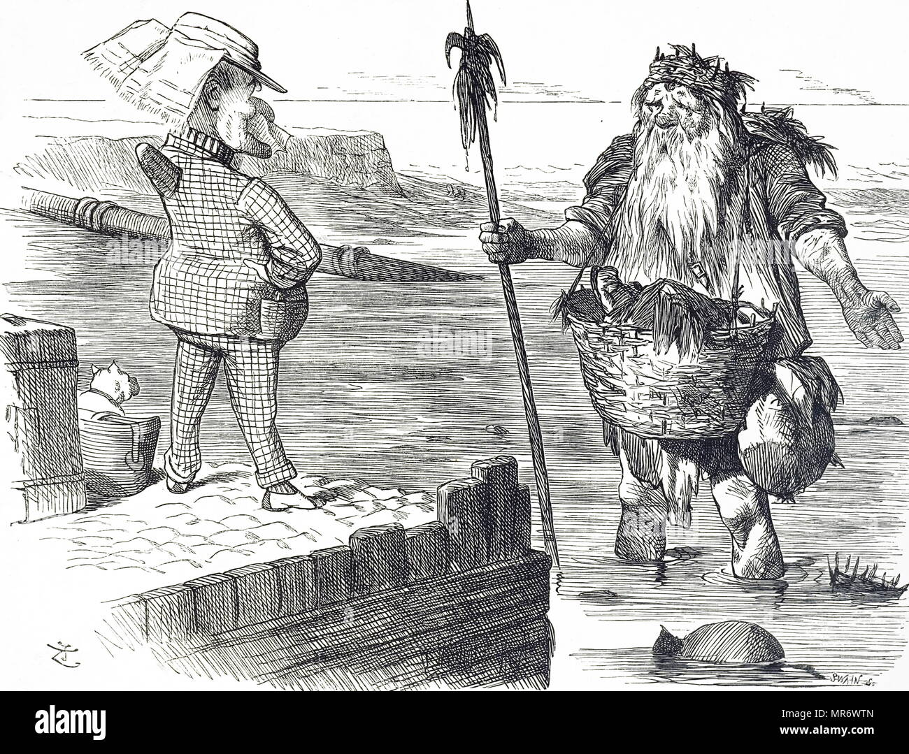 Cartoon commenting on the pollution of the Thames in London. Illustrated by John Tenniel (1820-1914) an English illustrator, graphic humourist, and political cartoonist. Dated 19th century - Stock Image