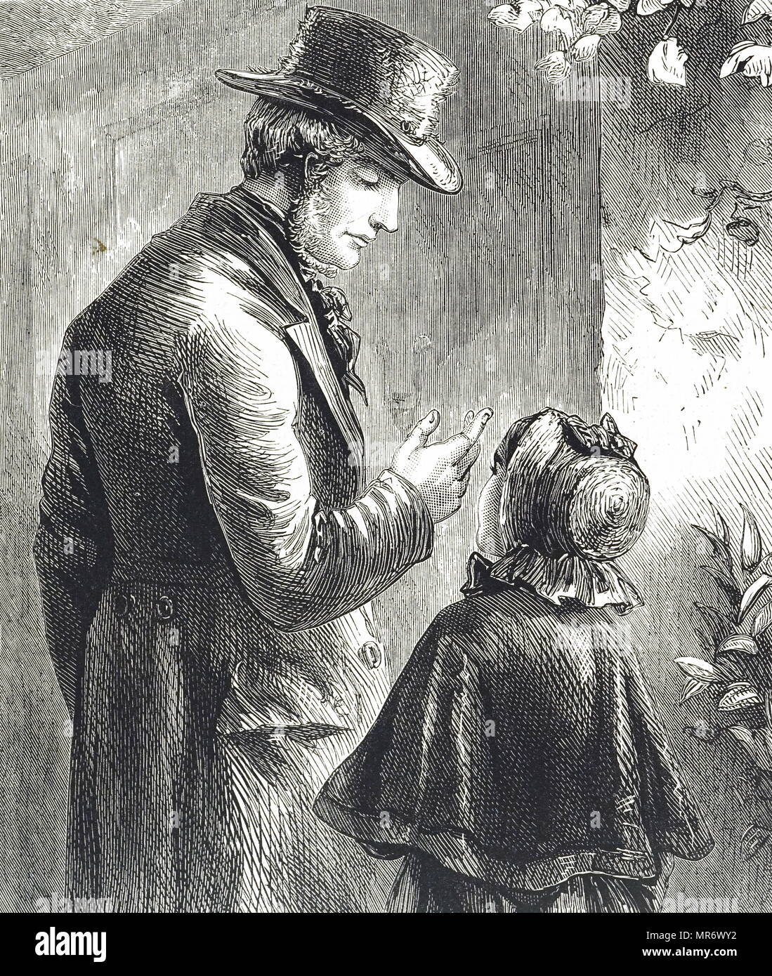 d15e008dc770e9 Engraving depicting a man wearing a beaver hat speaking with a little girl  wearing a bonnet