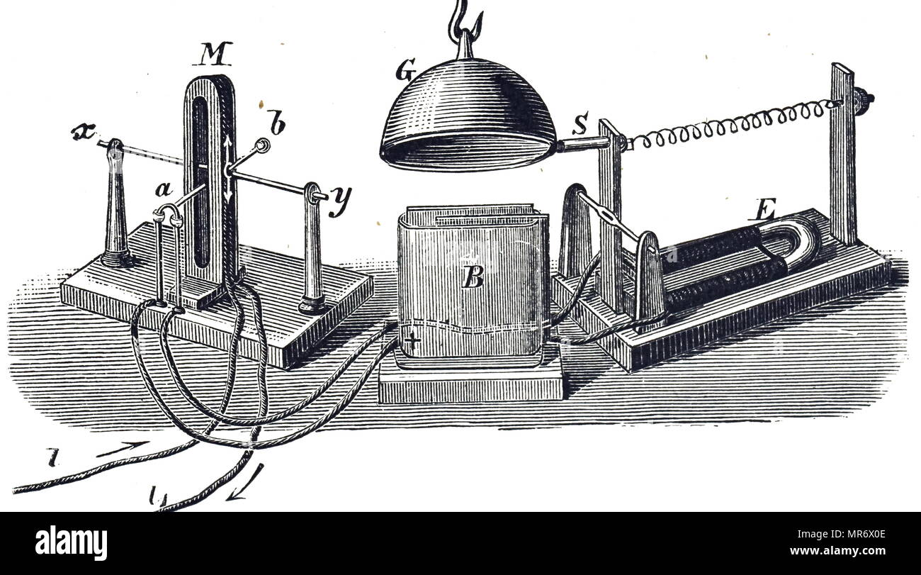 Engraving depicting Charles Wheatstone's relay, which enabled the electric telegraph to be used over long distances. Charles Wheatstone (1802-1875) an English scientist and inventor. Dated 19th century - Stock Image