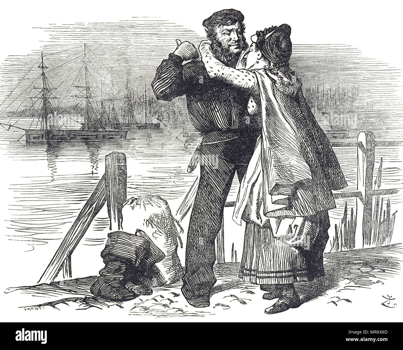 A sailor's tribute to Samuel Plimsoll (1824-1898), an English politician and social reformer, for the work he did whilst MP for Derby in bringing in legislation regulating the loading and sea-worthiness of merchant ships. It was for him that Plimsoll Line was named. Illustrated by John Tenniel (1820-1914) an English illustrator, graphic humourist, and political cartoonist. Dated 19th century - Stock Image