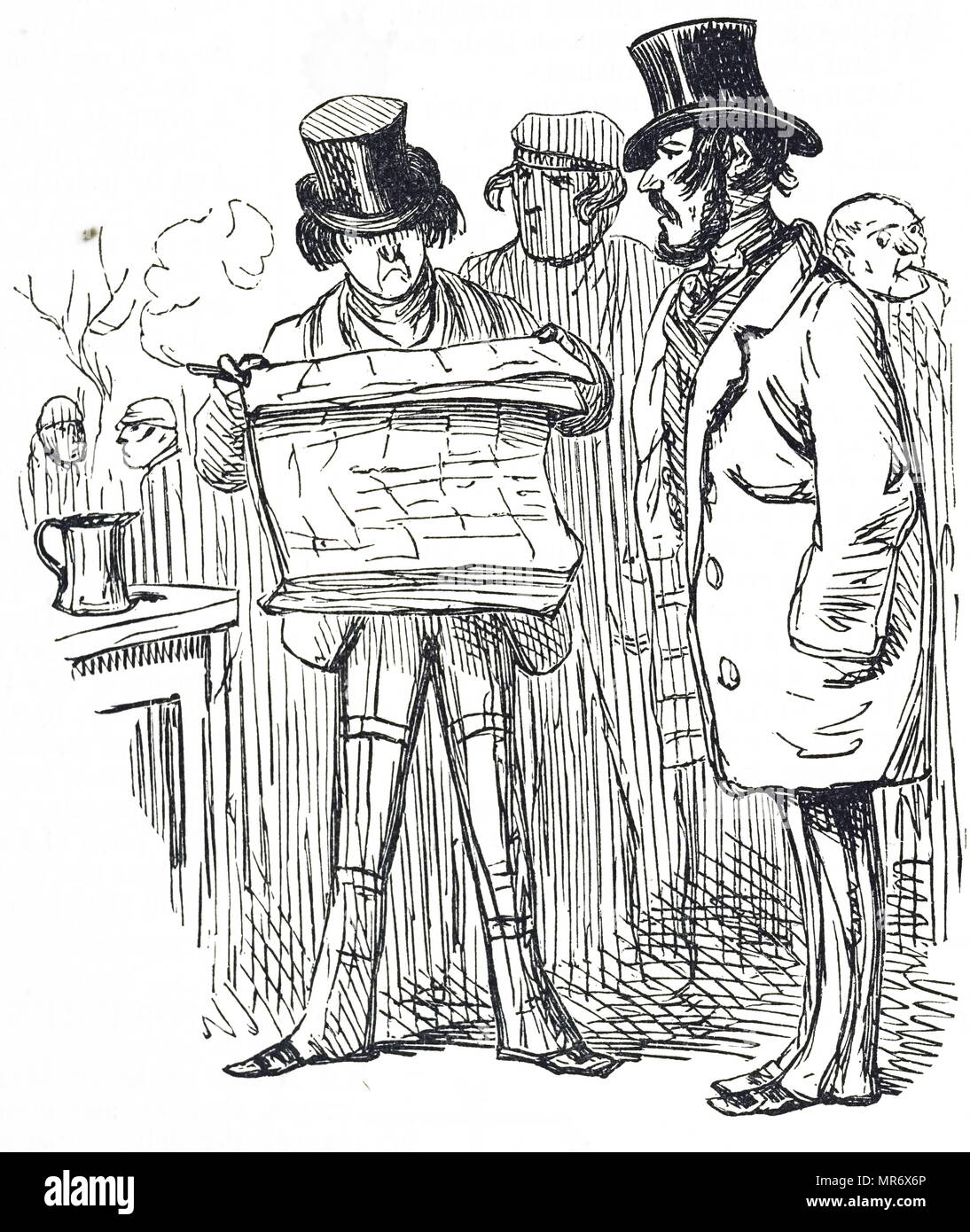 Cartoon titled 'Ill-news for the criminal fraternity'. Dated 19th century - Stock Image