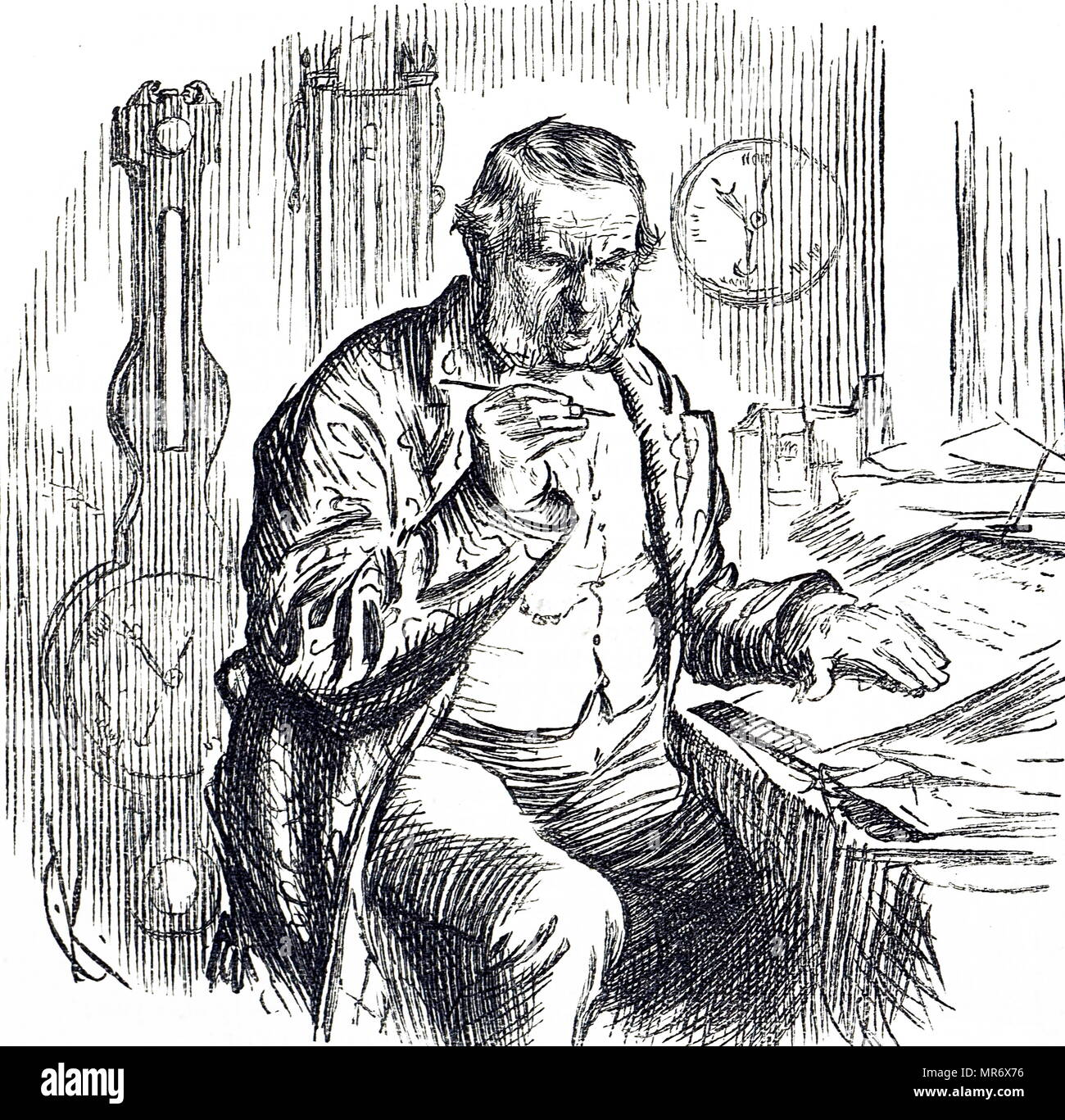 Portrait of the gentleman who draws up the meteorological reports. Dated 19th century - Stock Image