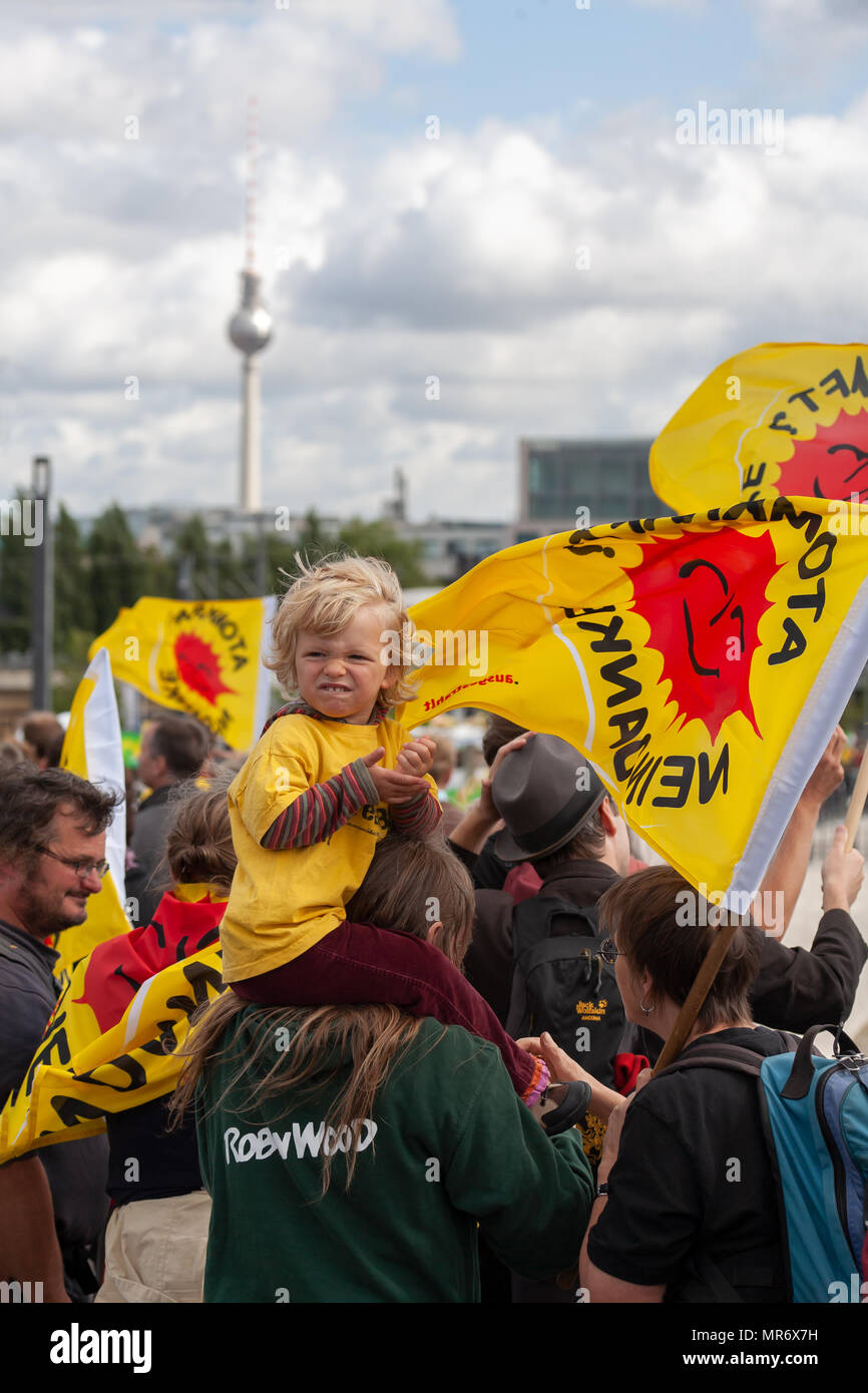 Rally against nuclear energy in front of Berlin Main station on September 5th, 2009. Stock Photo