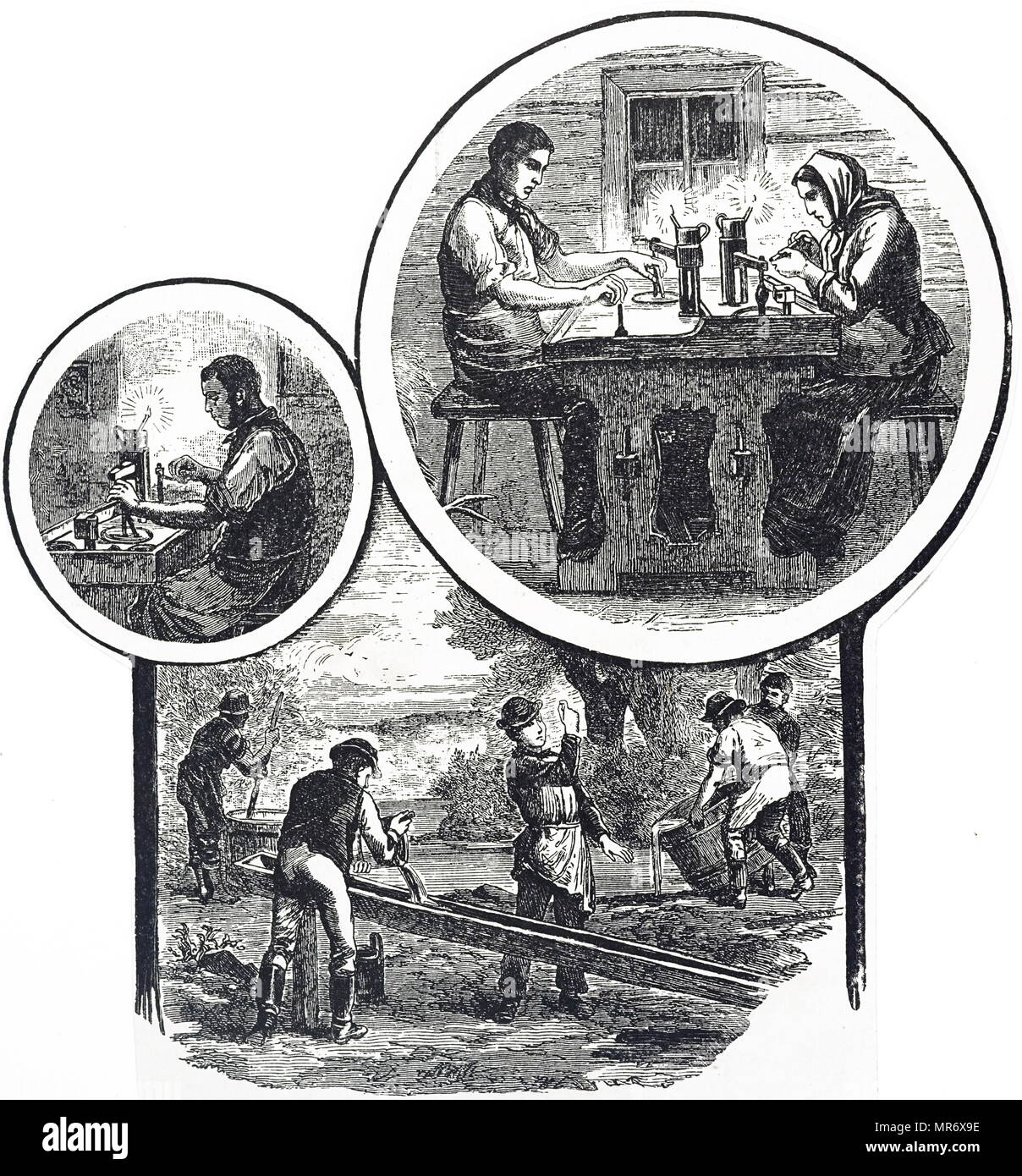 Engraving depicting the productions of Bohemian garnet. At the bottom miners are sieving for garnets, while the man on the top left is splitting the stones. The couple on the top right polish them. Dated 19th century - Stock Image