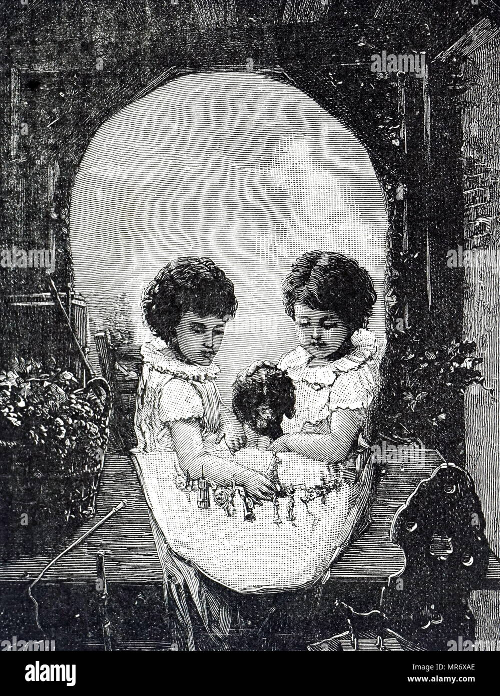 Example of an optical illusion - two happy children, framed by an arch play at a table with their pet dog. Viewed from a few feet away, or with half closed eyes, the children disappear and the picture becomes a skull. Dual picture by . Dated 19th century - Stock Image