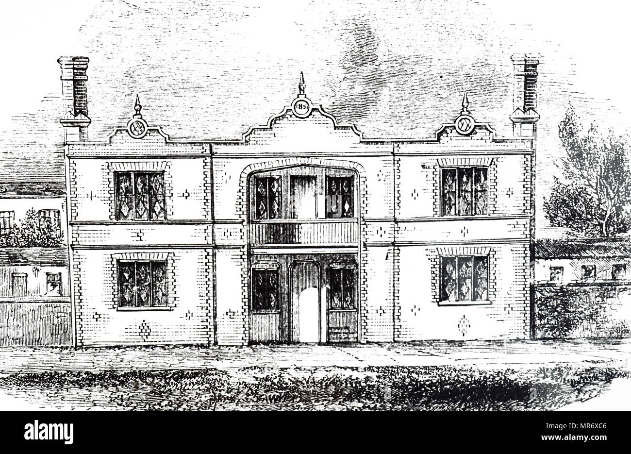 Engraving depicting Prince Albert's model dwelling for the labouring classes, designed for four families. Each occupying a flat. Dated 19th century - Stock Image