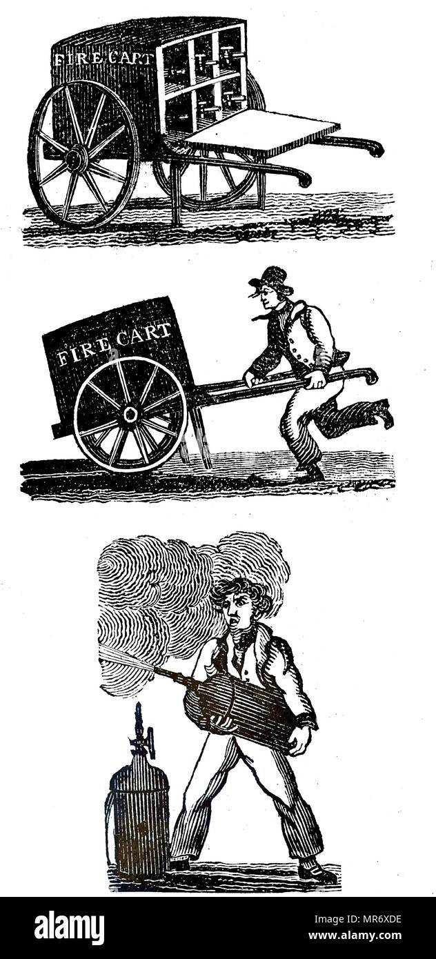 Engraving depicting a handcart containing six cylinders charged with water. The cylinders worked on the principle of the artificial fountain, and when the stopcock was opened the pressure of the water allowed a jet to be pointed in the required direction. Designed by Captain Manby. The extinguisher carried by this cart was the first portable extinguisher. Dated 19th century - Stock Image