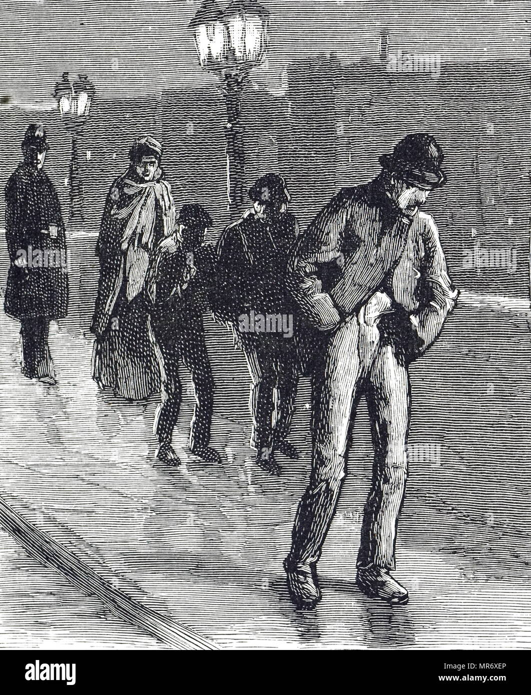 Engraving depicting homeless Londoners being 'moved on' by police on Westminster Bridge. Dated 19th century - Stock Image